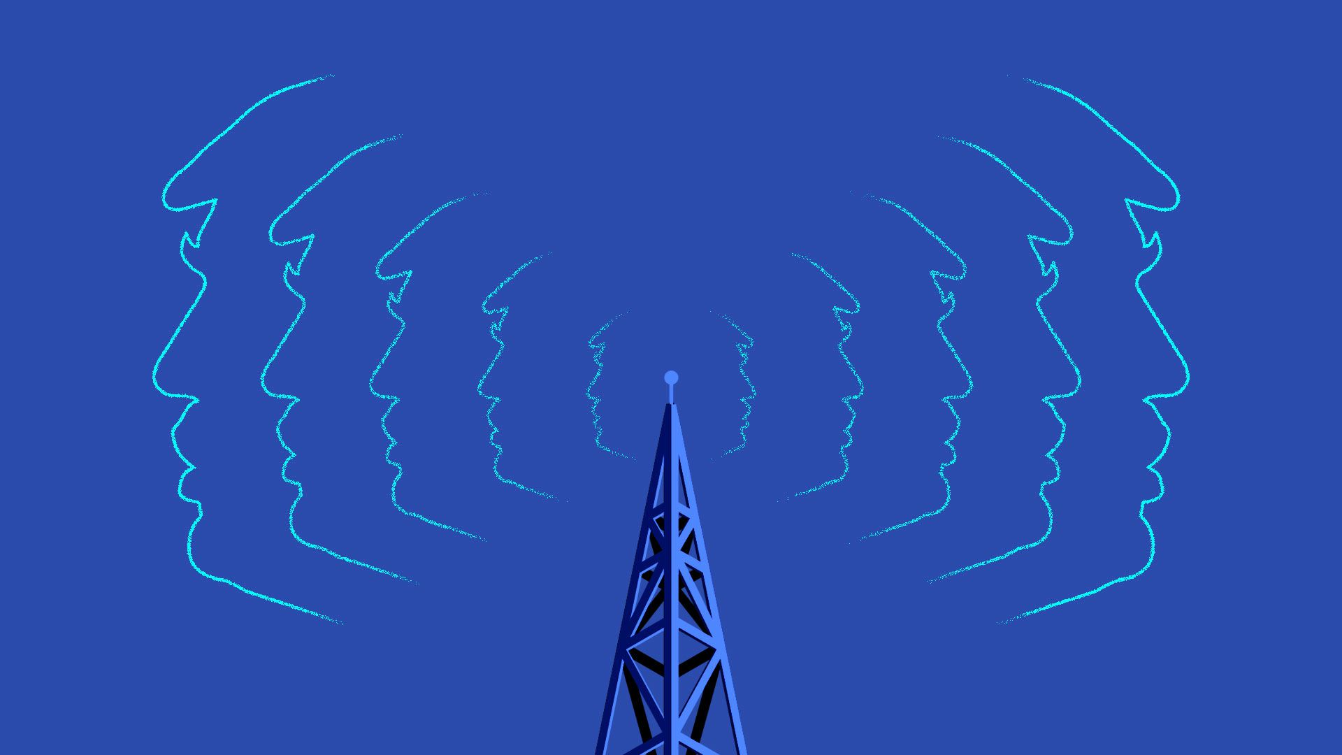 A radio tower emanating radio waves in the shape of Donald Trump's profile