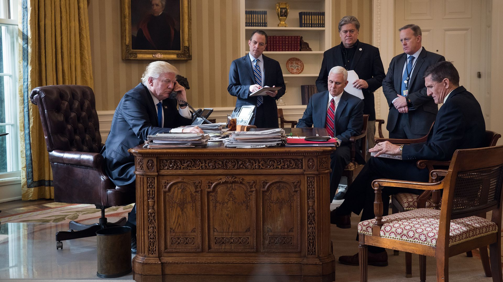 Trump sits in the Oval Office in January 2017. The only people in this photo who still work at the White House are Trump and Pence. Photo: Drew Angerer/Getty Images