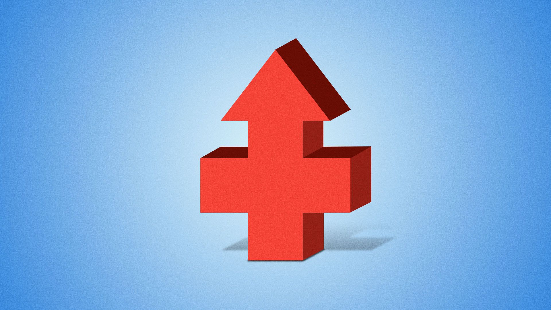Illustration of a health/ hospital plus with an upwards arrow