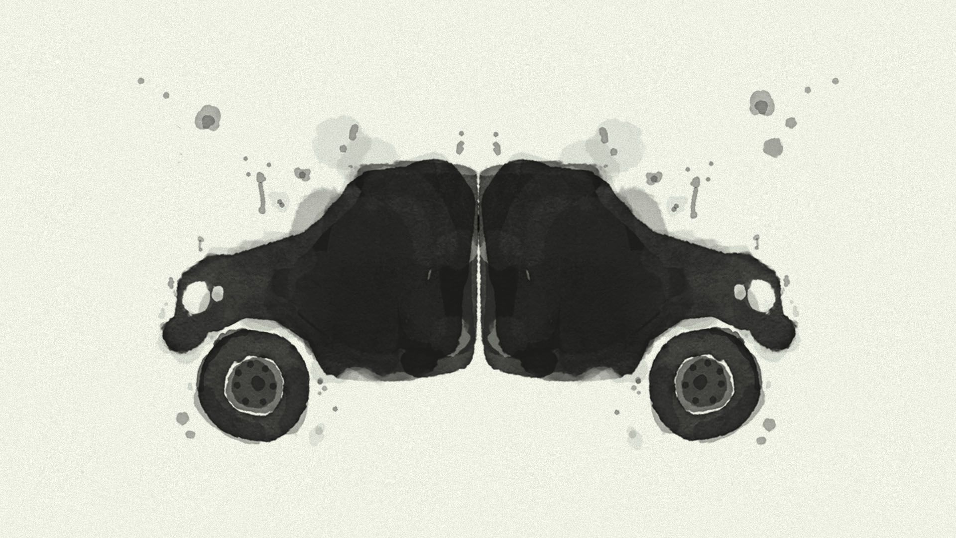 Illustration of a Rorschach test in the shape of a car