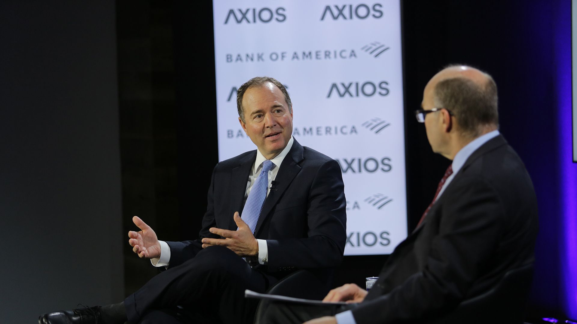 Rep. Adam Schiff sits with Axios' Mike Allen on the Axios stage.
