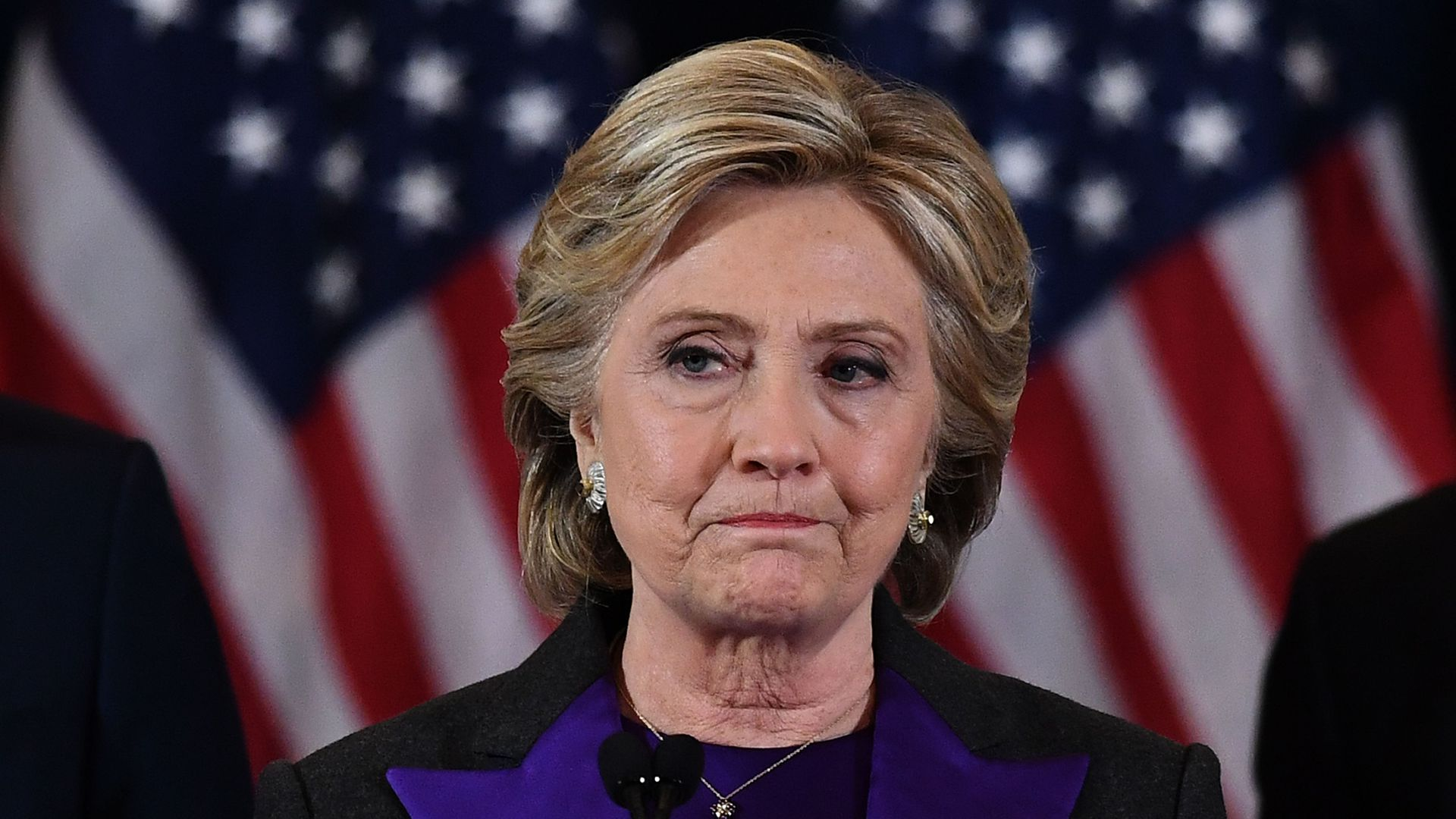 Hillary Clinton during his concession speech looking down