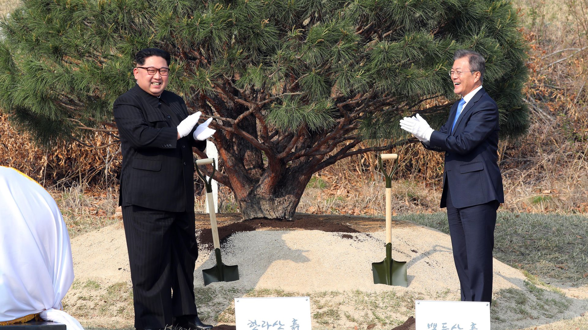 North Korean leader Kim Jong Un and South Korean President Moon Jae-in at a tree planting ceremony during the Inter-Korean Summit on April 27, 2018 in Panmunjom, South Korea.