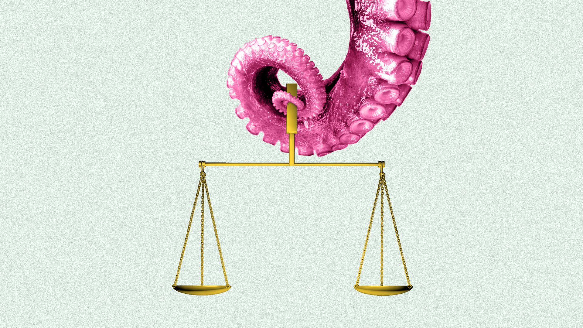 illustration of an octopus holding a scale
