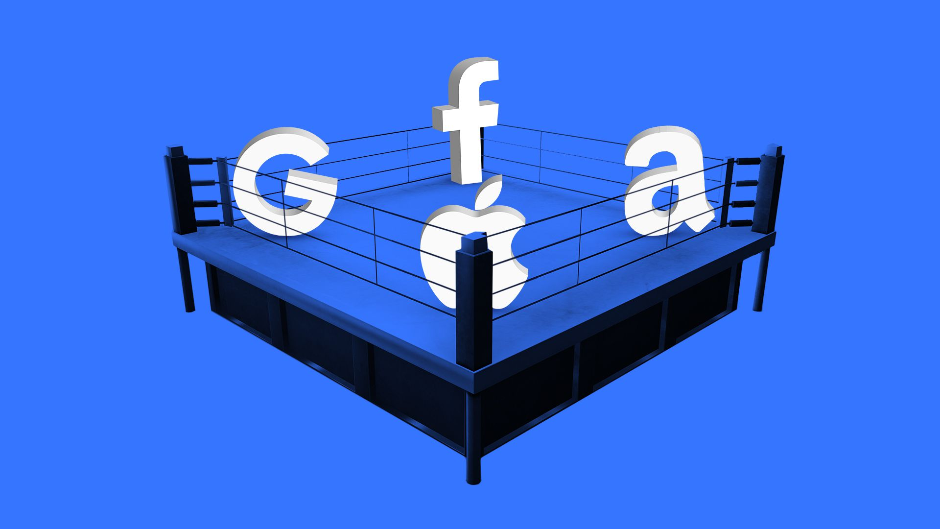 The logos for Facebook, Apple, Google and Amazon in a wrestling ring.