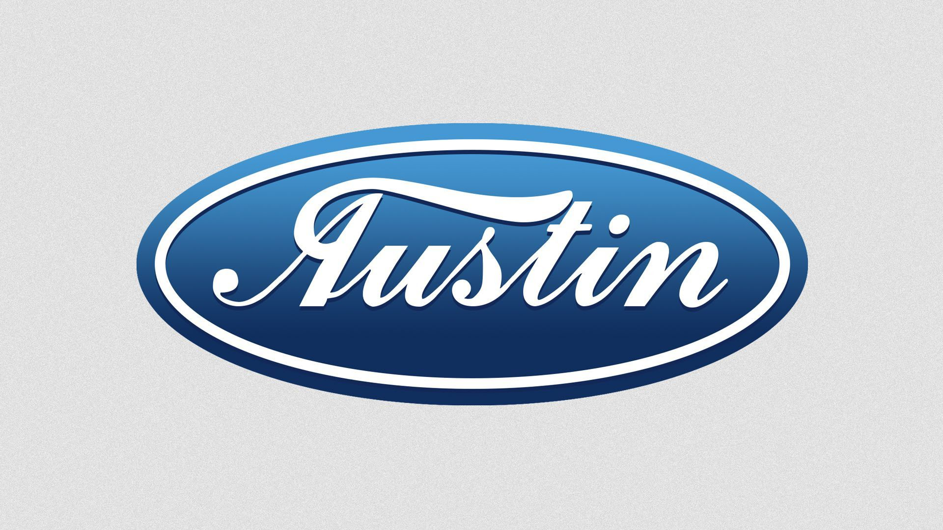 An illustration of the word Austin styled as the Ford logo