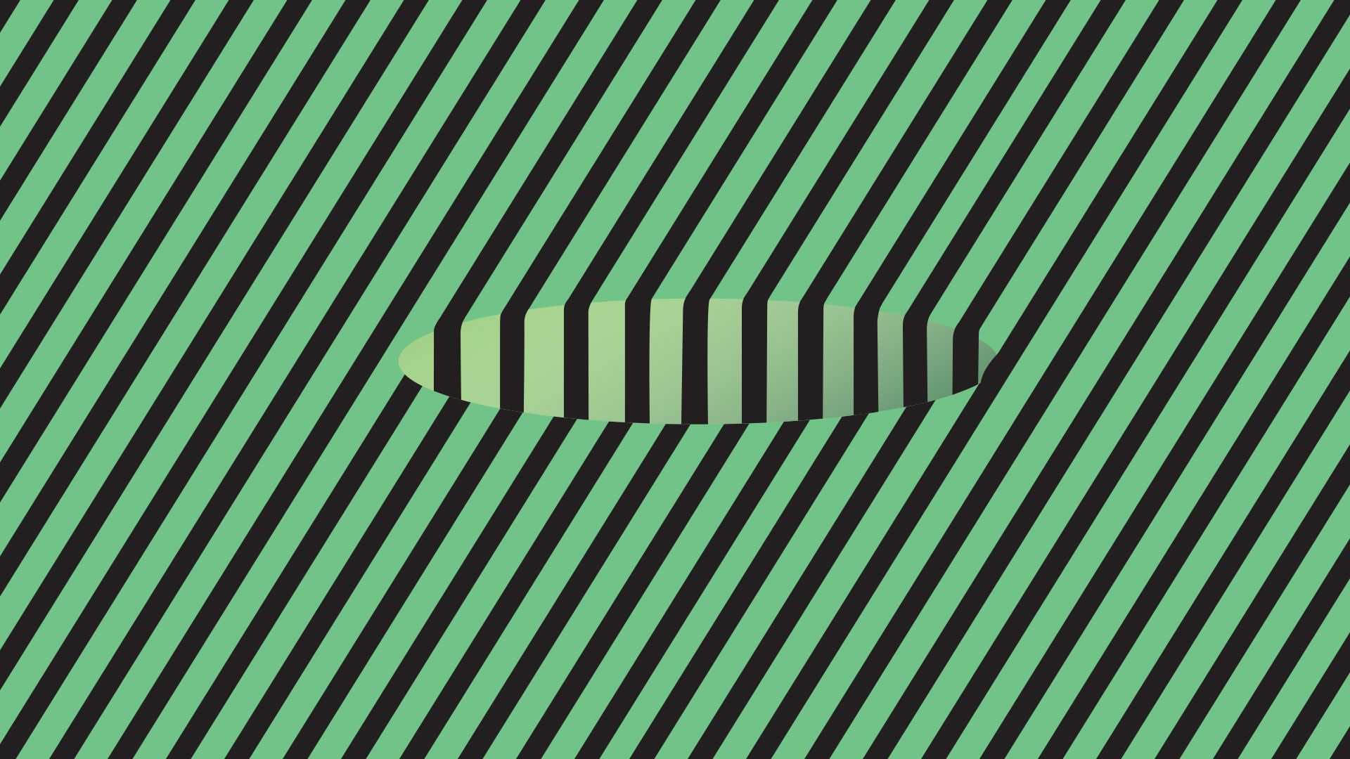 Optical illusion of hole with green and black striped lines going across.