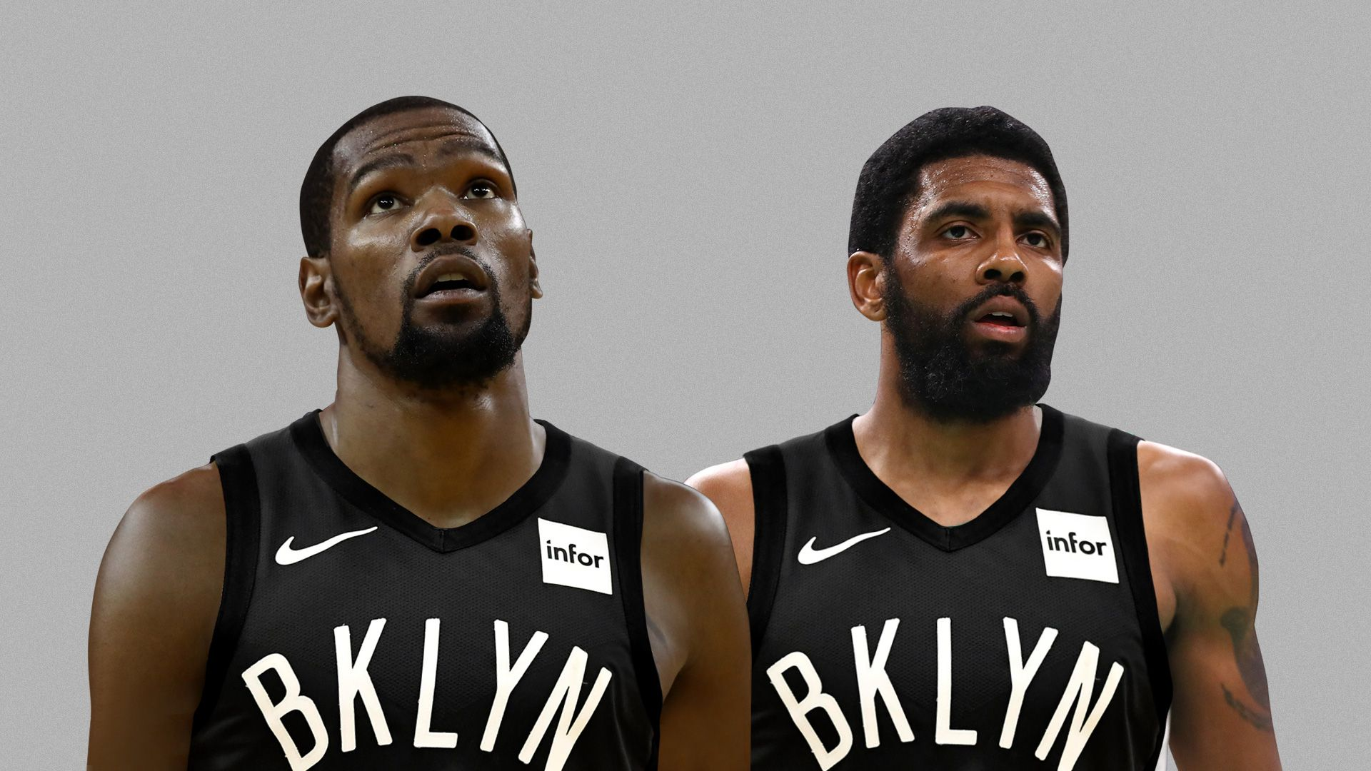 Kyrie and KD in Nets jerseys