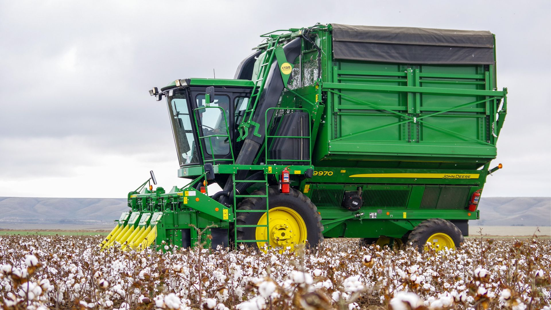 A John Deere cotton harvester