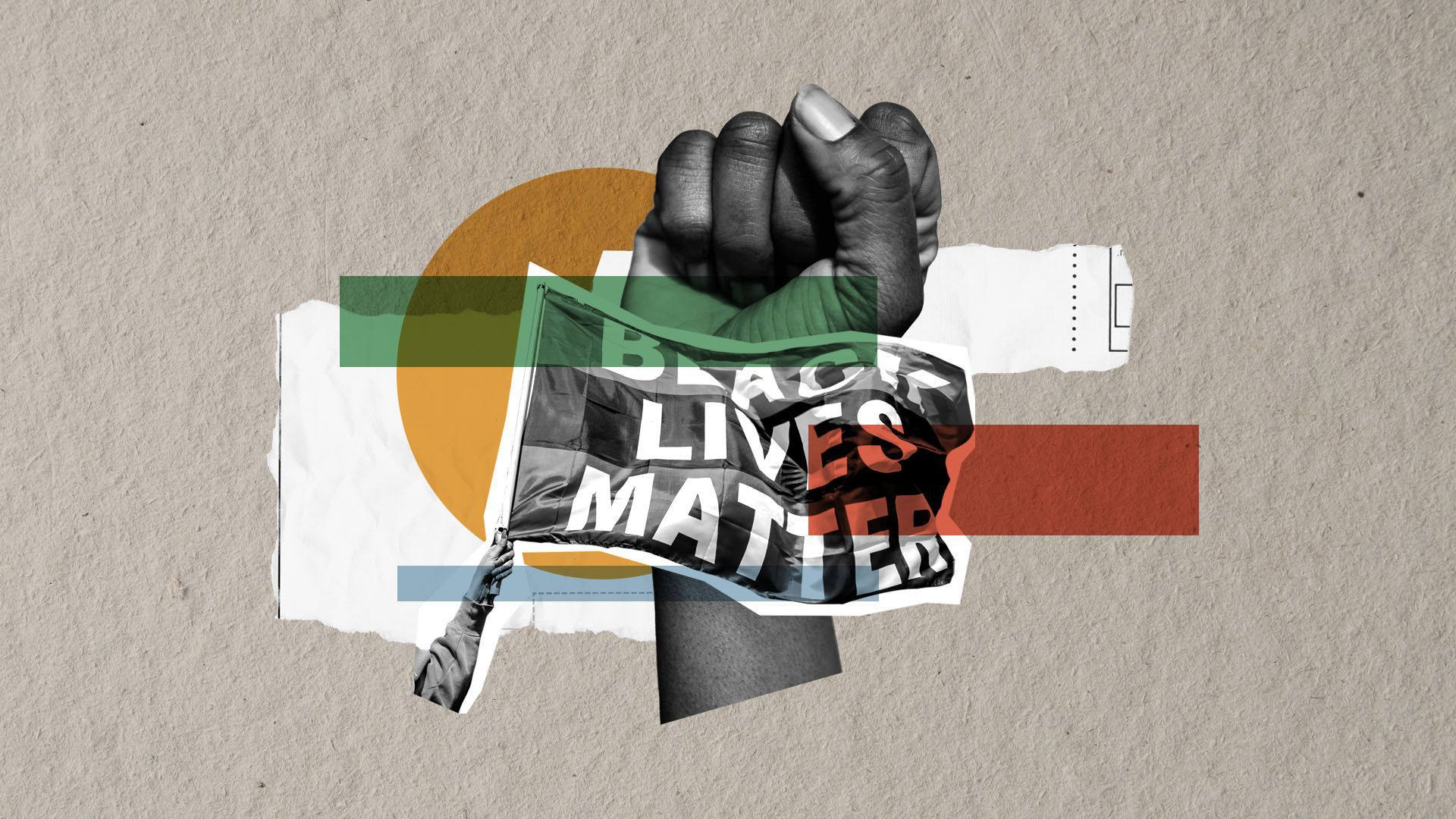 Illustrated collage of a fist in the air and a black lives matter flag