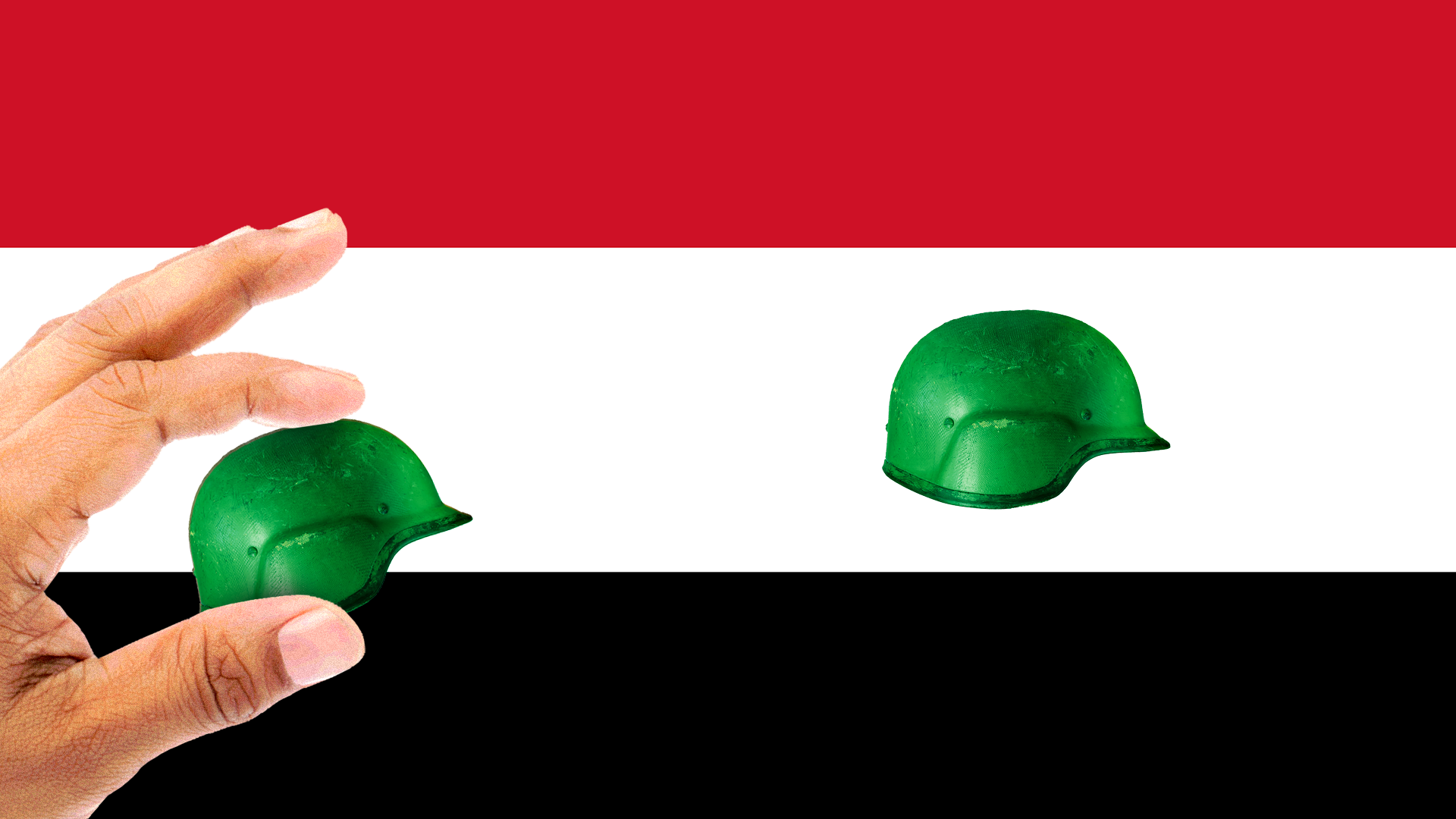 a hand removing a green army helmet from the middle of the Syrian flag