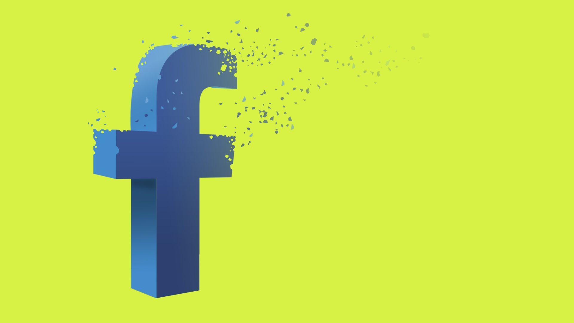 "An illustration of Facebook's ""F"" logo breaking apart"