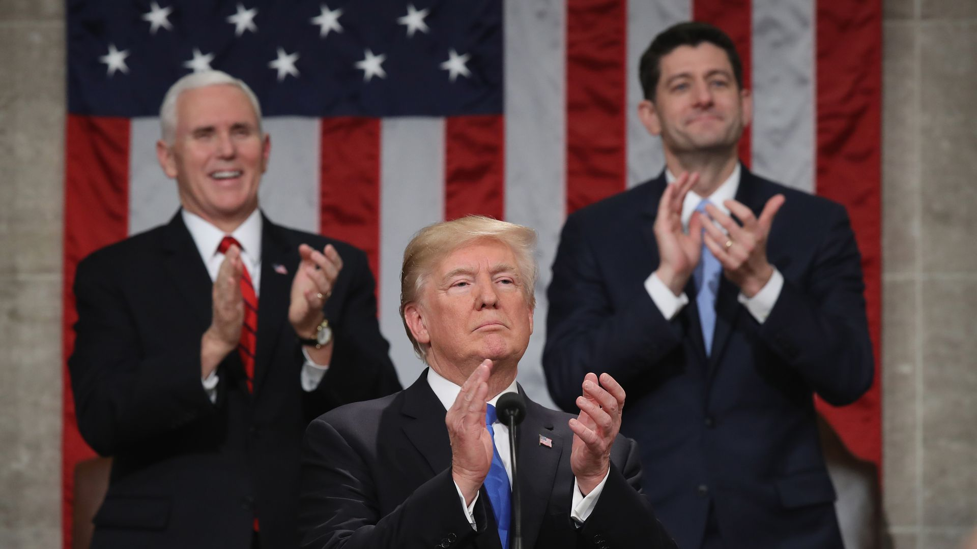 President Trump with Vice President Mike Pence and House Speaker Paul Ryan.