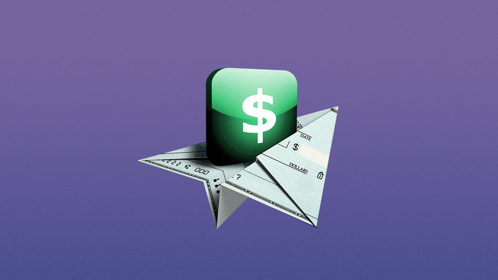 Illustration of a check folded into a paper airplane carrying an app button.