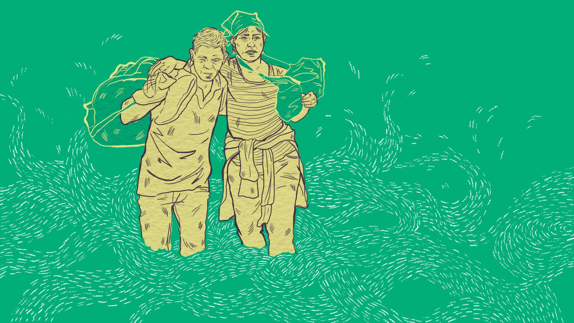 Illustration of refugees crossing a river