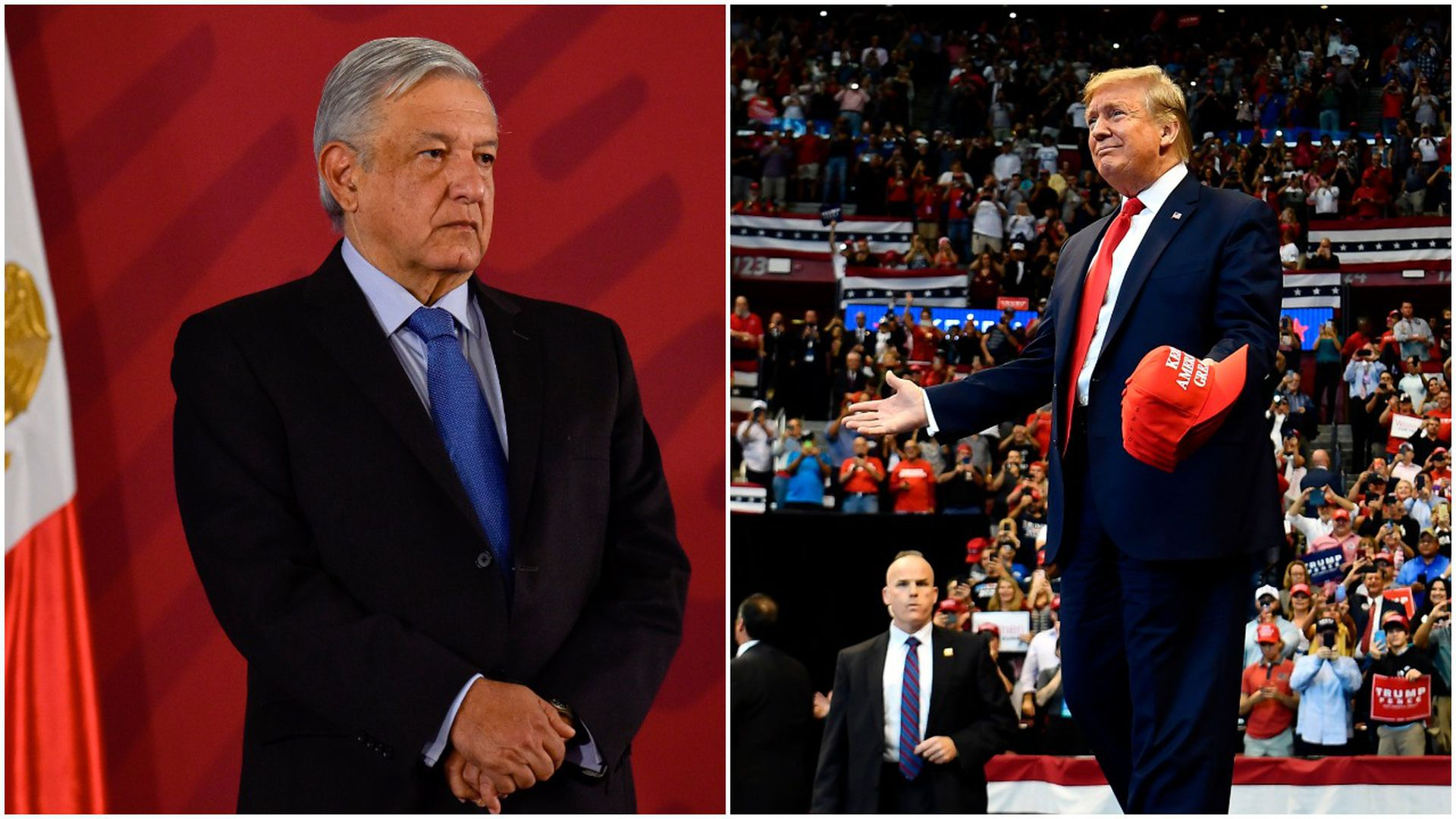This image is a split screen of Mexico's president and Donald Trump