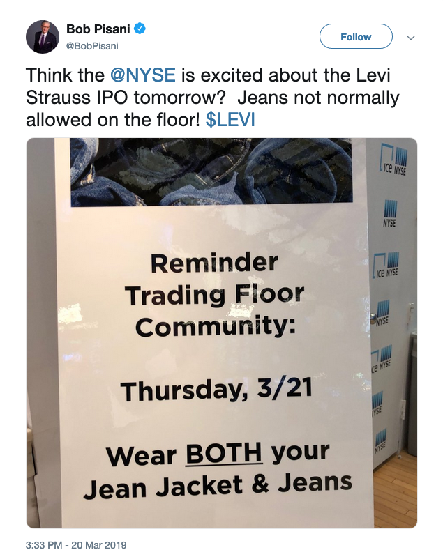 A tweet showing a photo of a sign posted at the NYSE about the jeans policy.