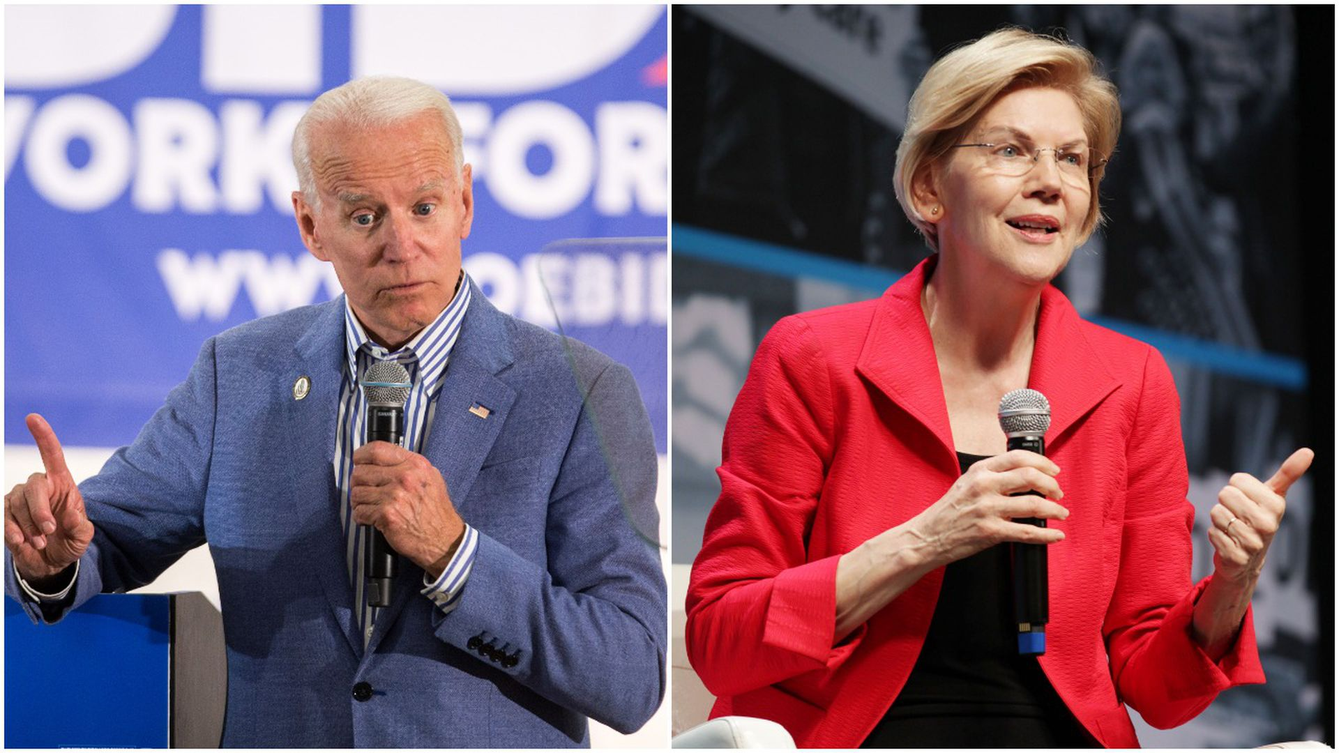 This image is a split screen of Elizabeth Warren and Joe Biden, who are both standing and speaking into microphones.