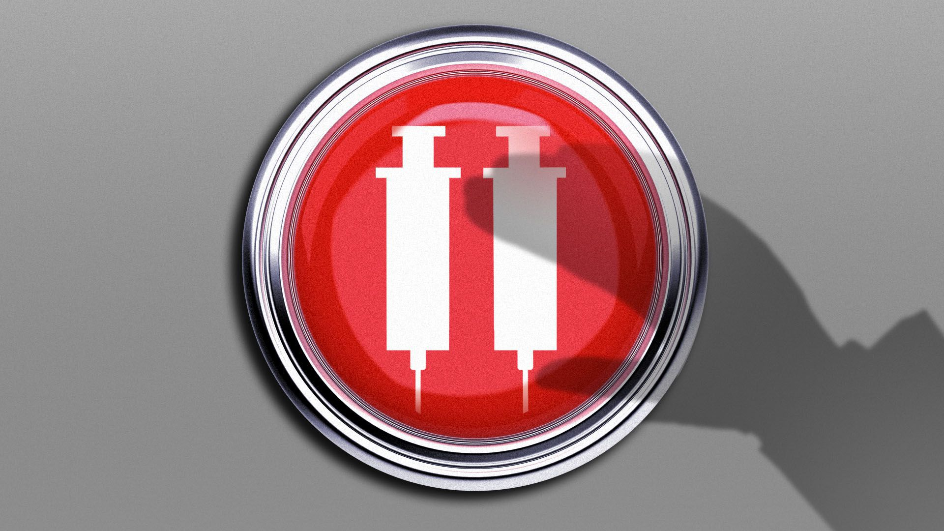 Illustration of a shadow hovering over a giant red button with syringes in the shape of a pause symbol