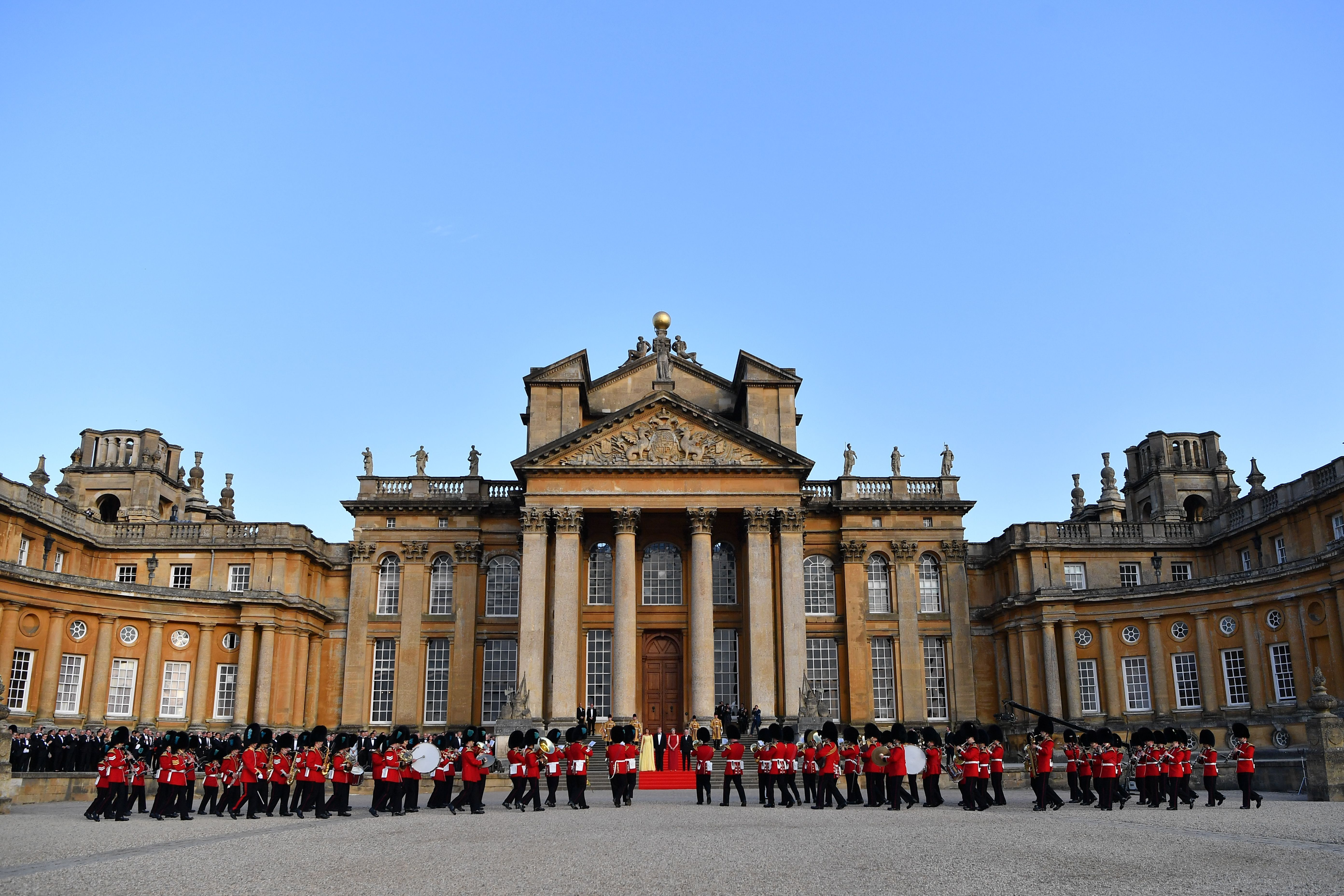 A ceremonial welcome outside the Great Court