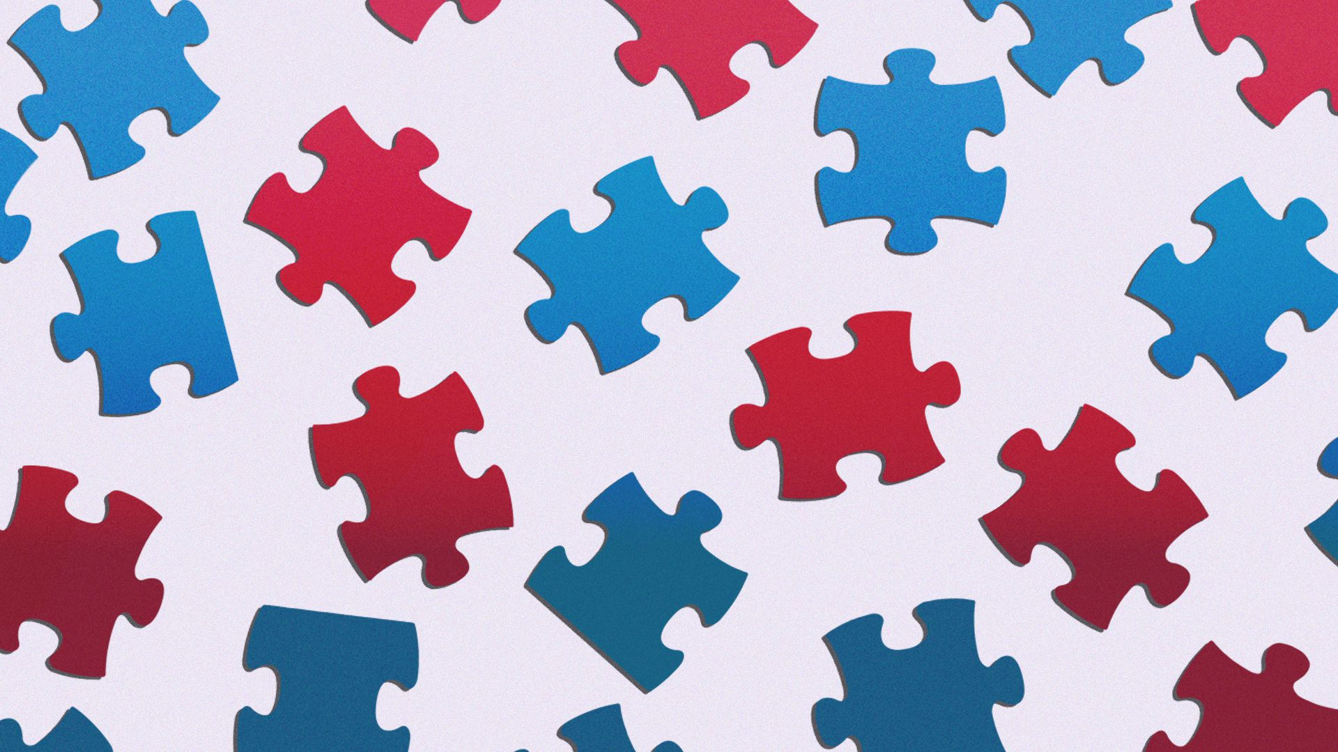 Illustration of scattered red and blue jigsaw puzzle pieces.