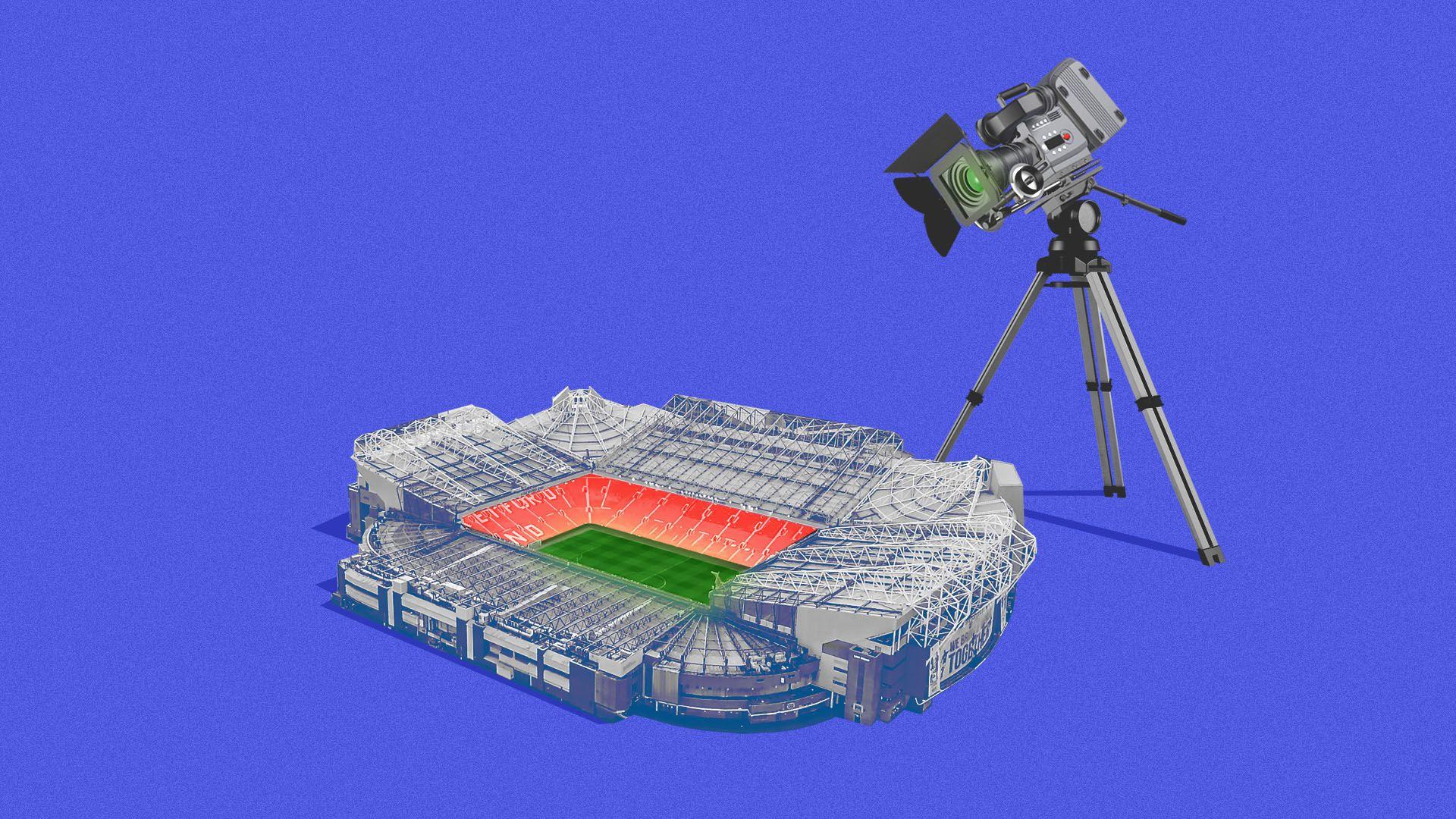 Illustration of giant TV camera over a sports stadium