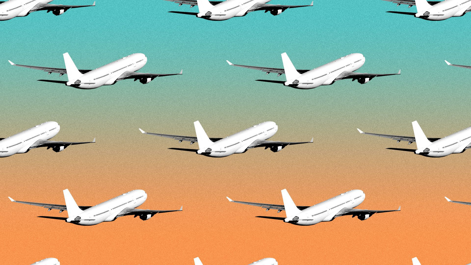 Illustration of a pattern of airplanes.