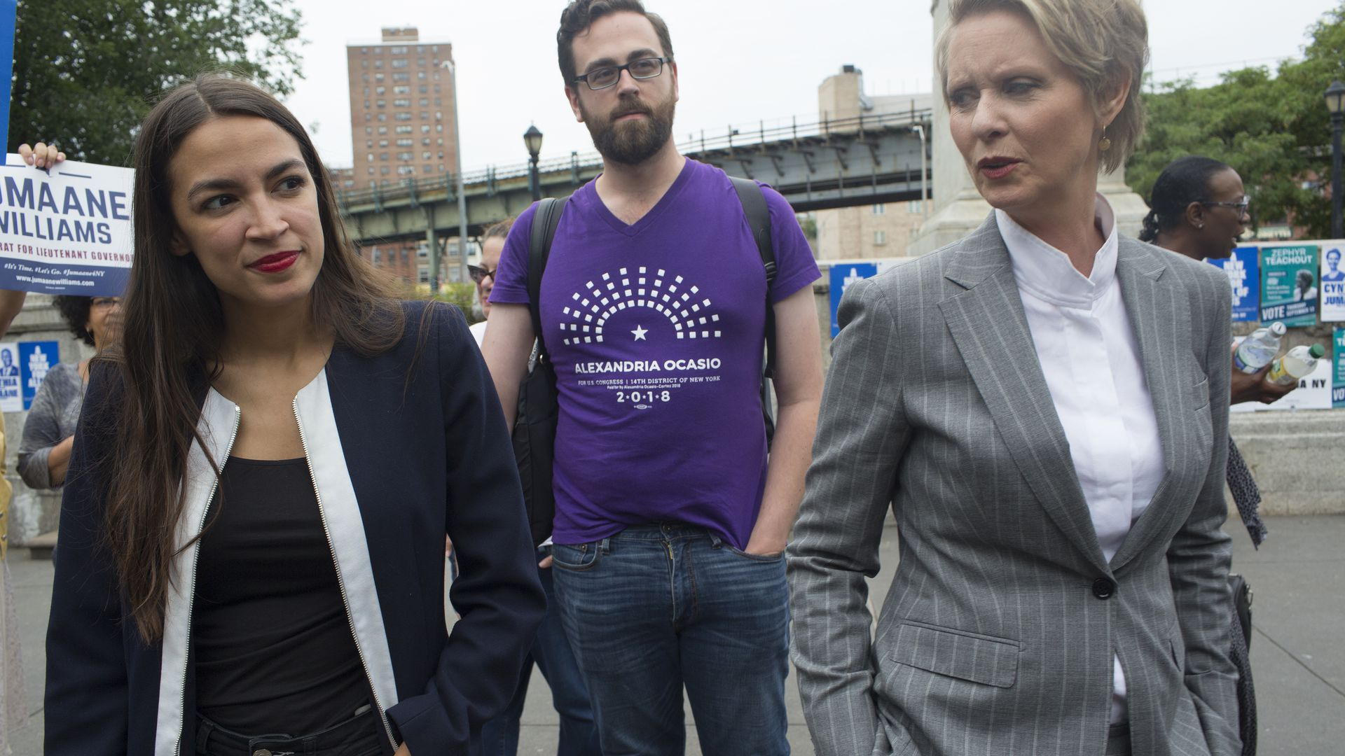 Cynthia Nixon on the campaign trail with Alexandria Ocasio-Cortez