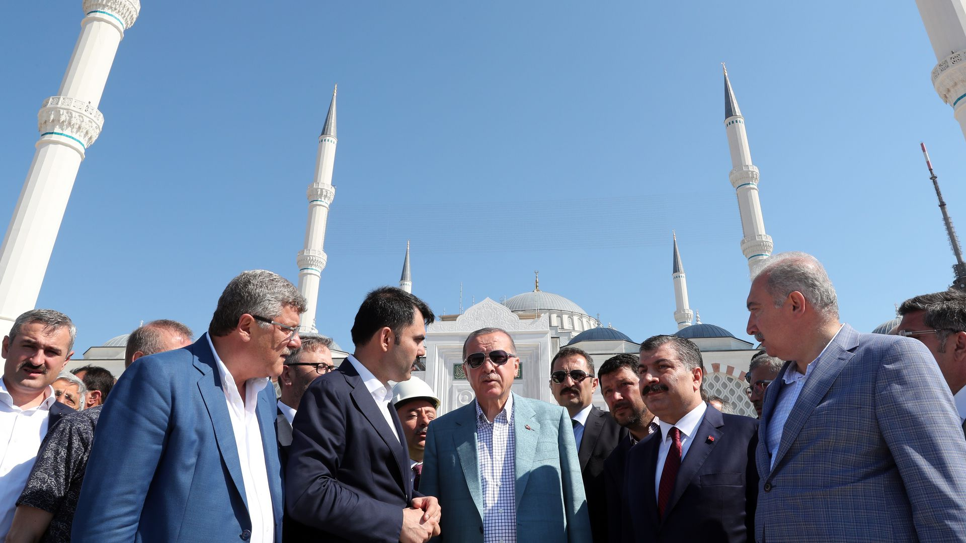 Turkish President Erdogan receives information about the current construction process of the Camlica Mosque from an engineer in Istanbul, Turkey on August 05, 2018.