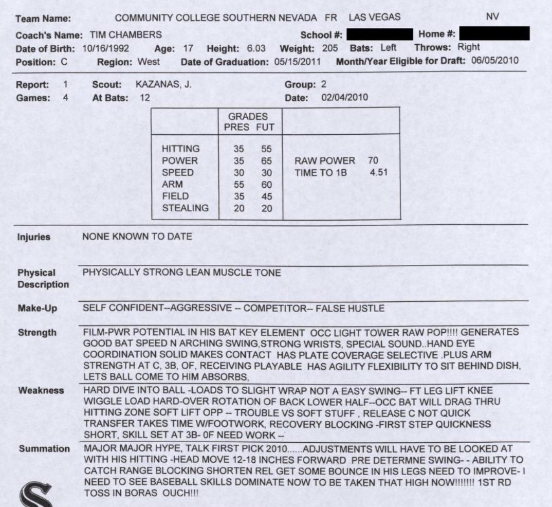 Screenshot of Bryce Harper scouting report from 2010