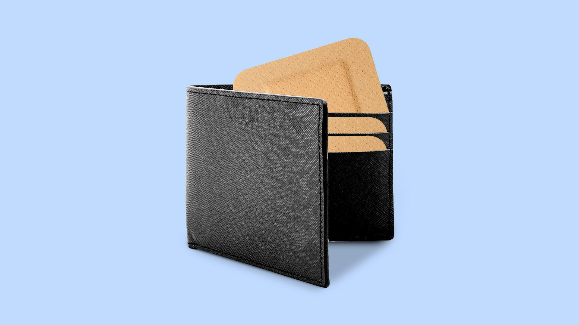 illustration of a wallet with band aids in it