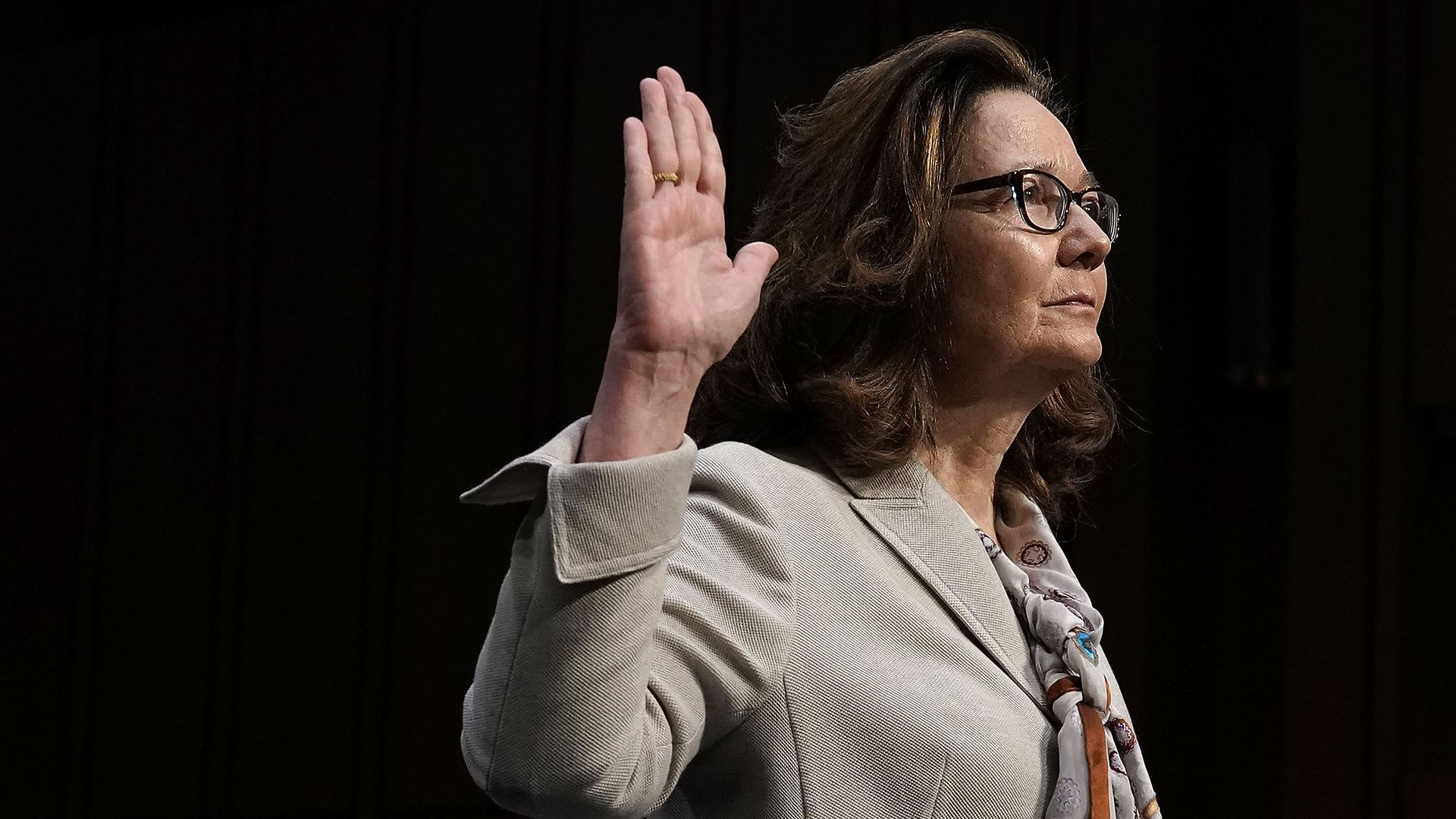 Gina Haspel is sworn in during her confirmation hearing before the Senate.