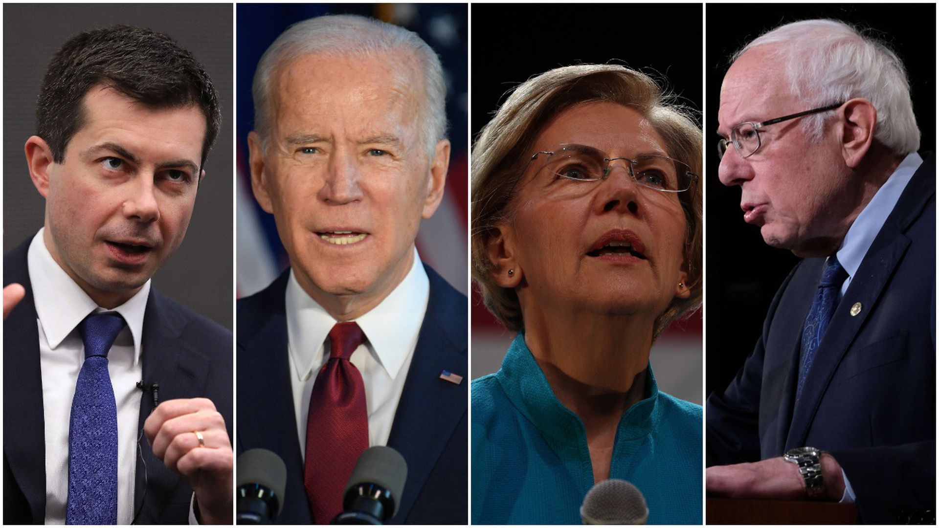 This image is a four-way split between Joe Biden, Elizabeth Warren, Pete Buttigieg, Bernie Sanders