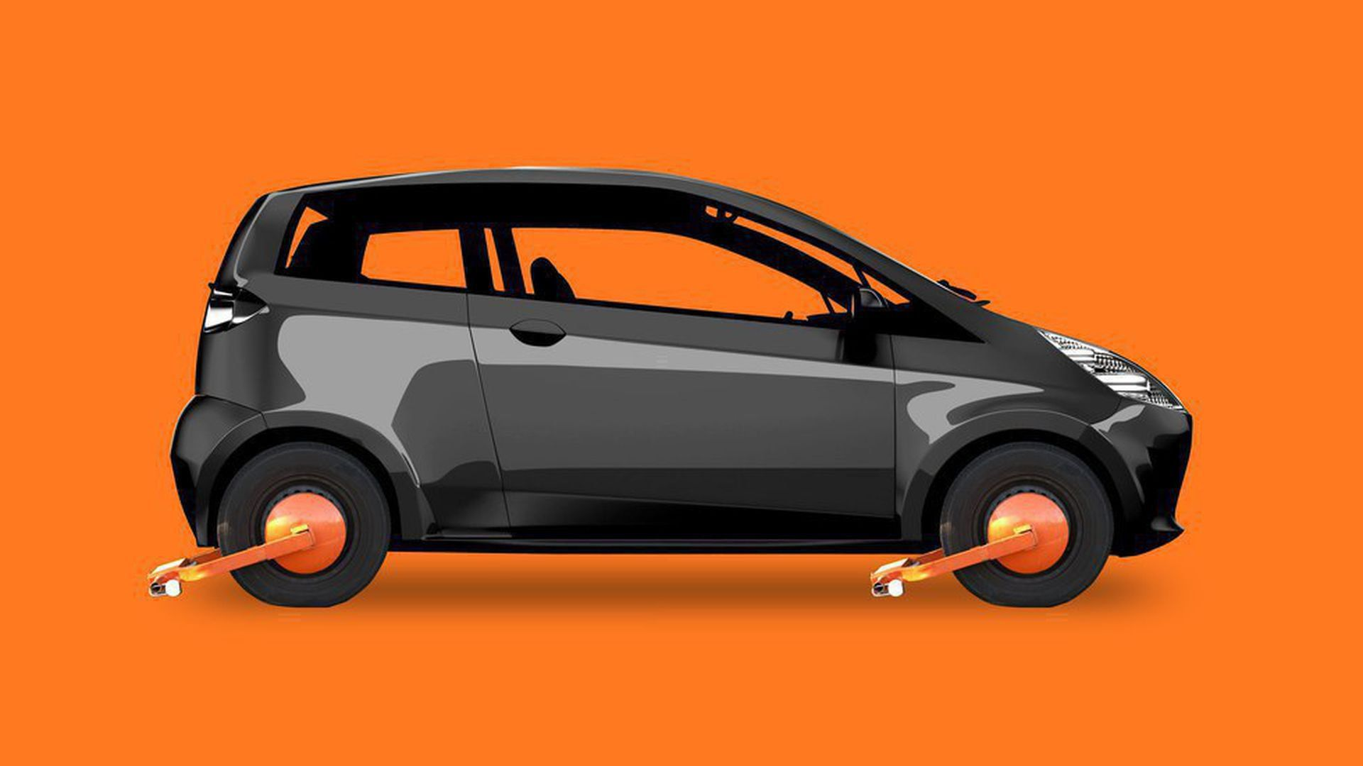 Illustration of car with locks on the wheels rendering it unusable
