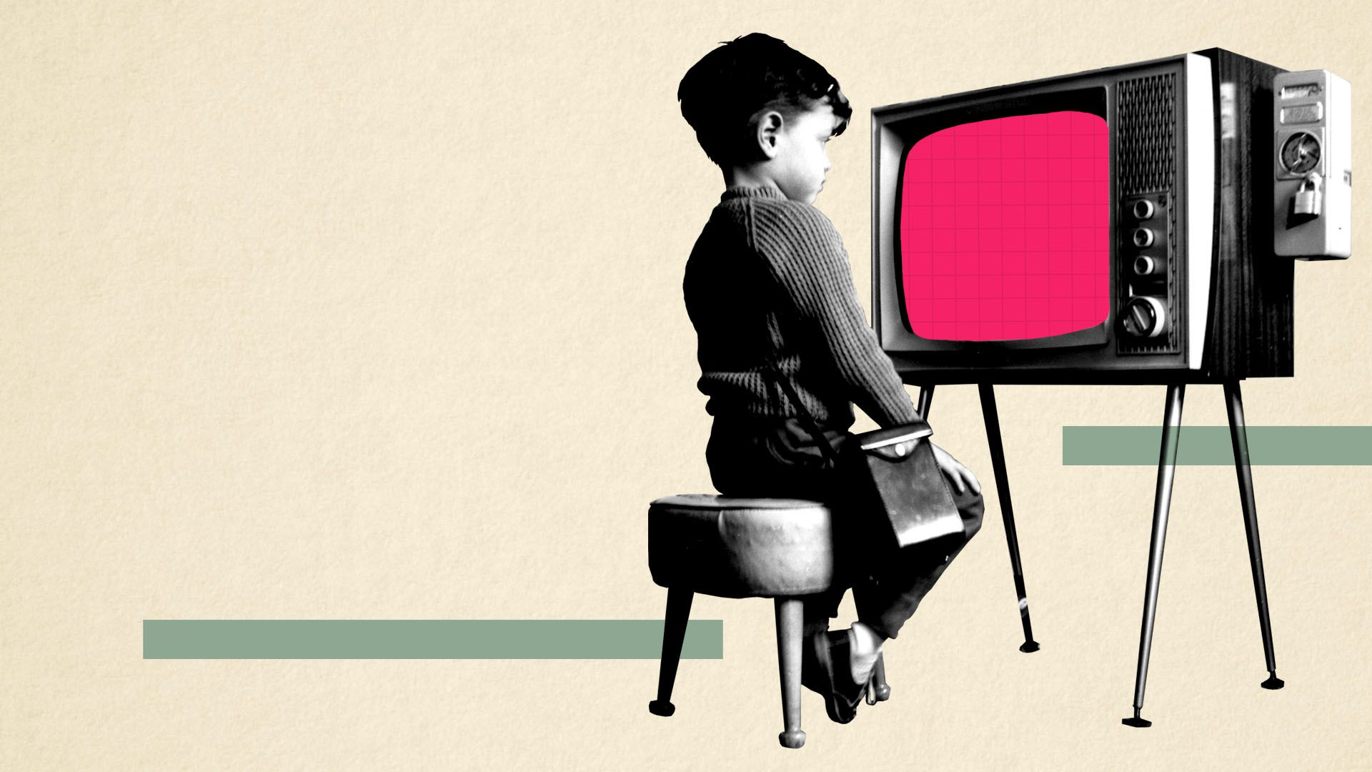 Illustration of a vintage photo of a young boy watching television