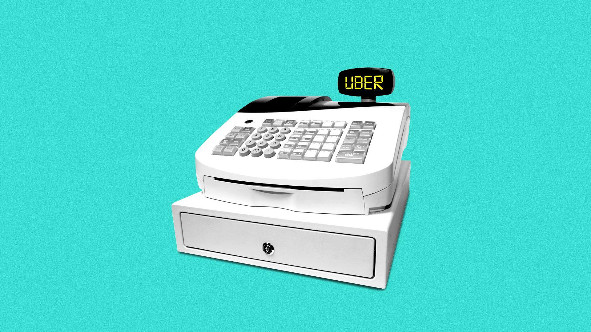 Illustration of a cash register ringing up UBER.