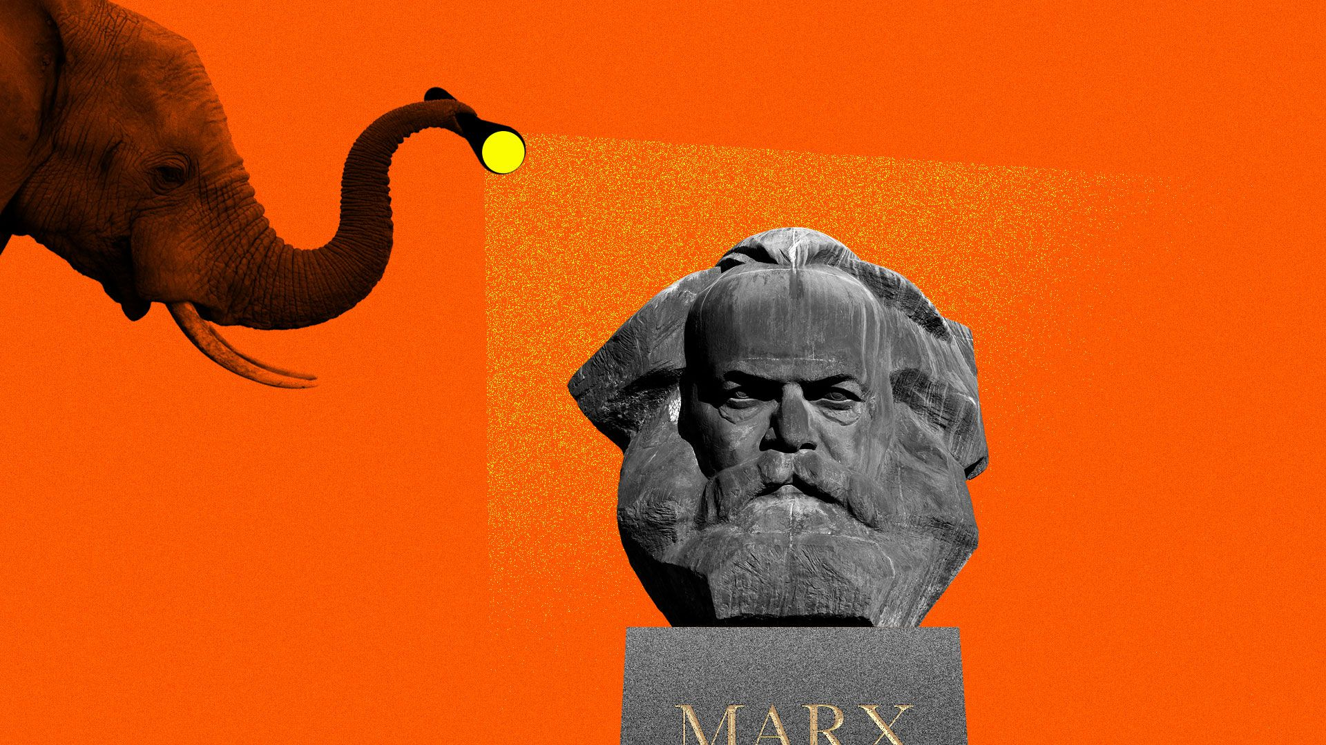 An elephant shining a flashlight on a bust of Karl Marx