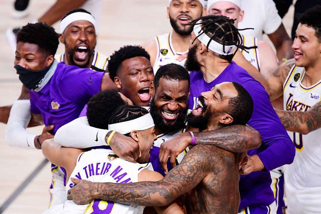 players hugging