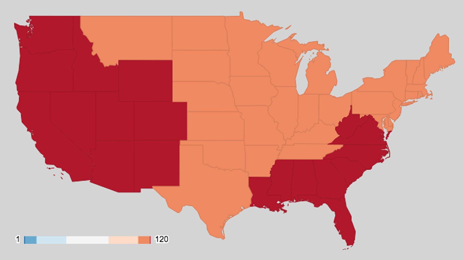 Map showing U.S. temperature records