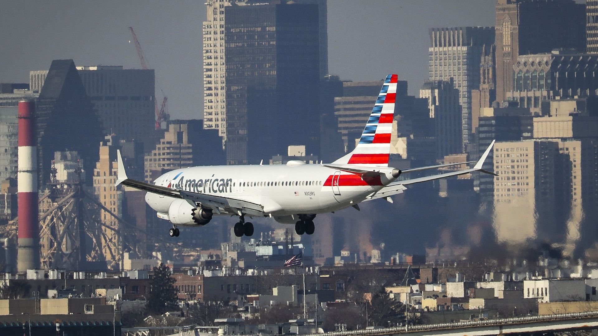 An American Airlines Boeing 737 8Max lands in New York City.