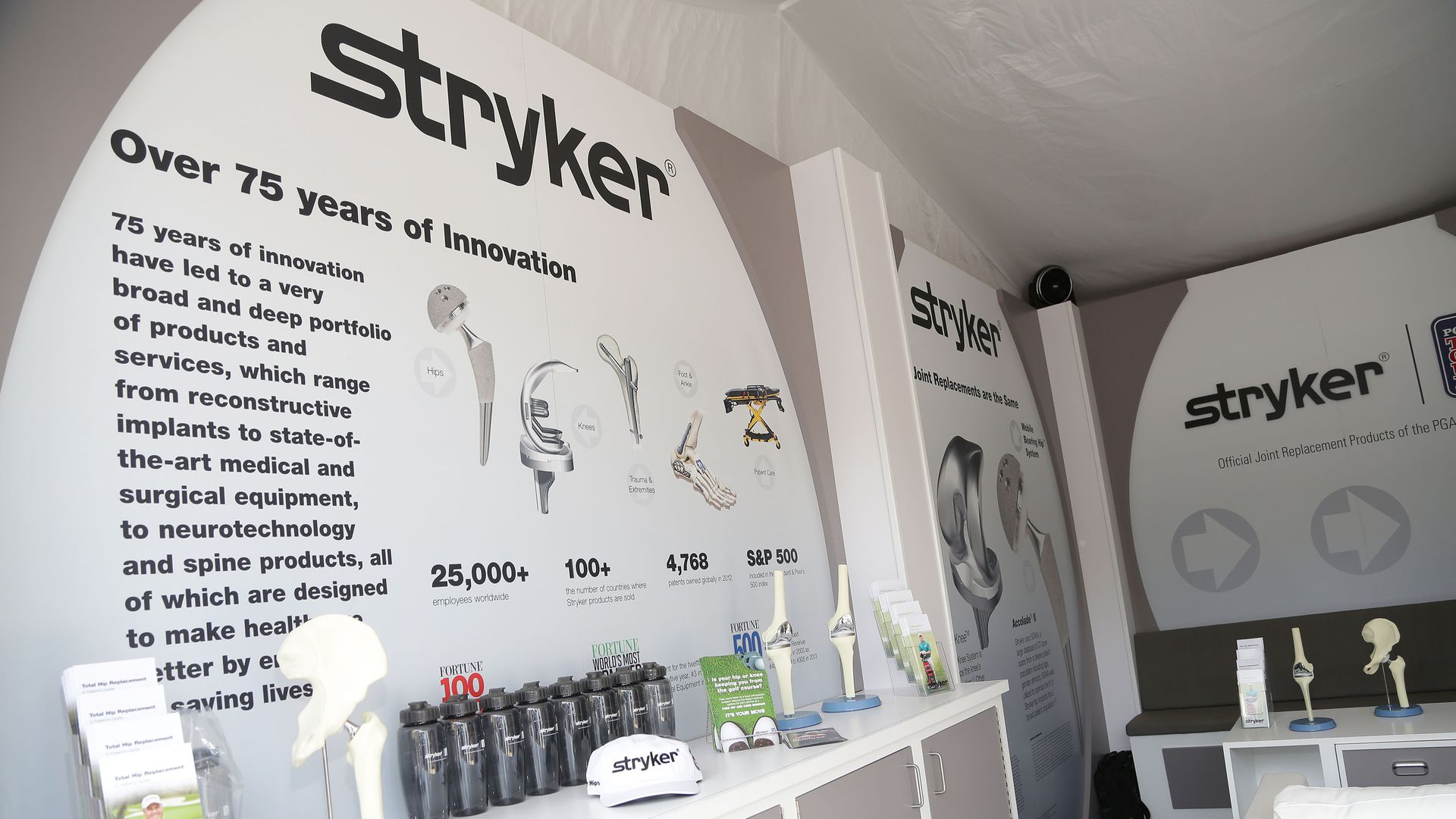 A Stryker exhibit of joint replacement implants.