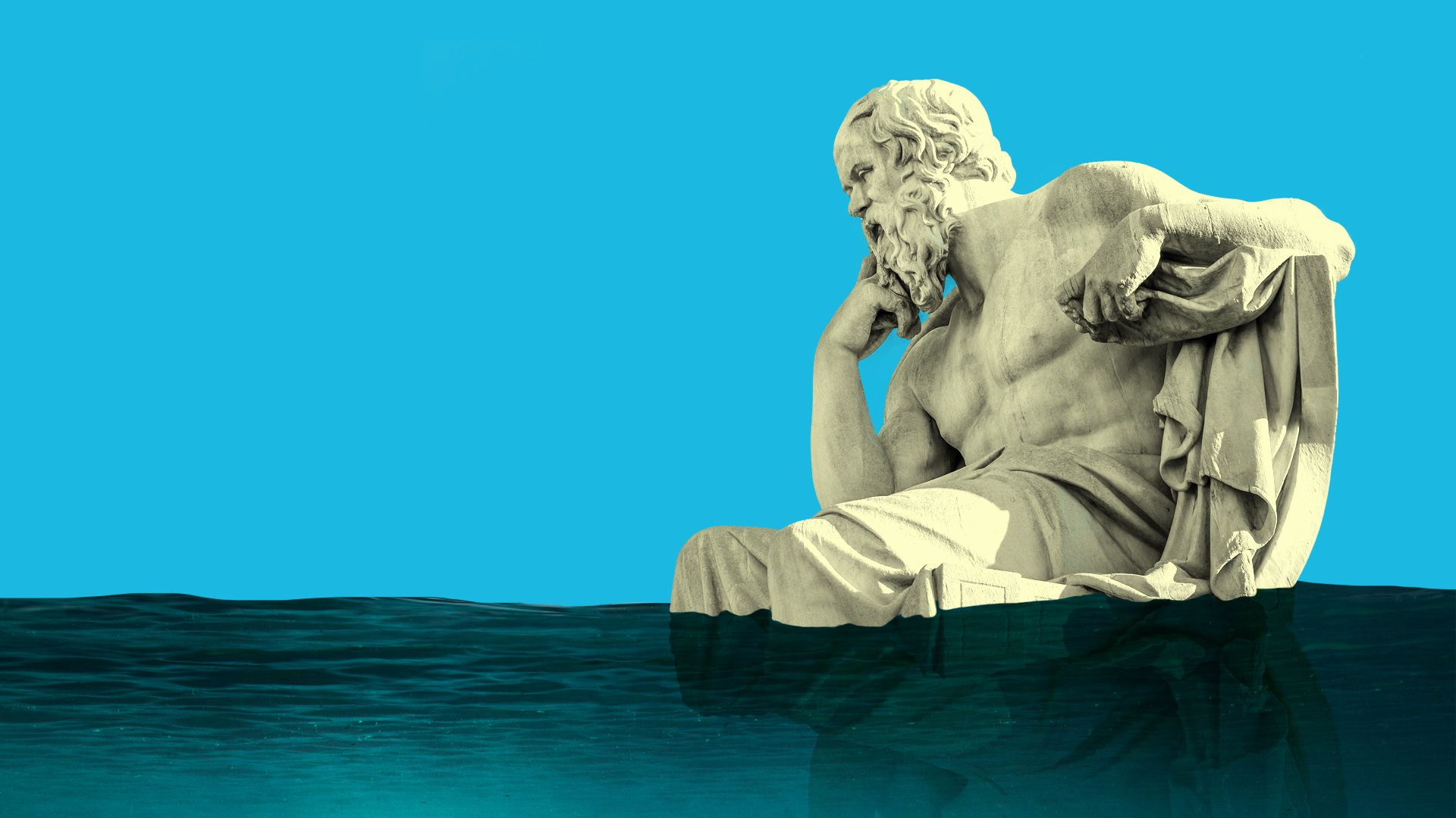 Illustration of Socrates statue surrounded by rising water, as sea level rise threatens cultural sites.