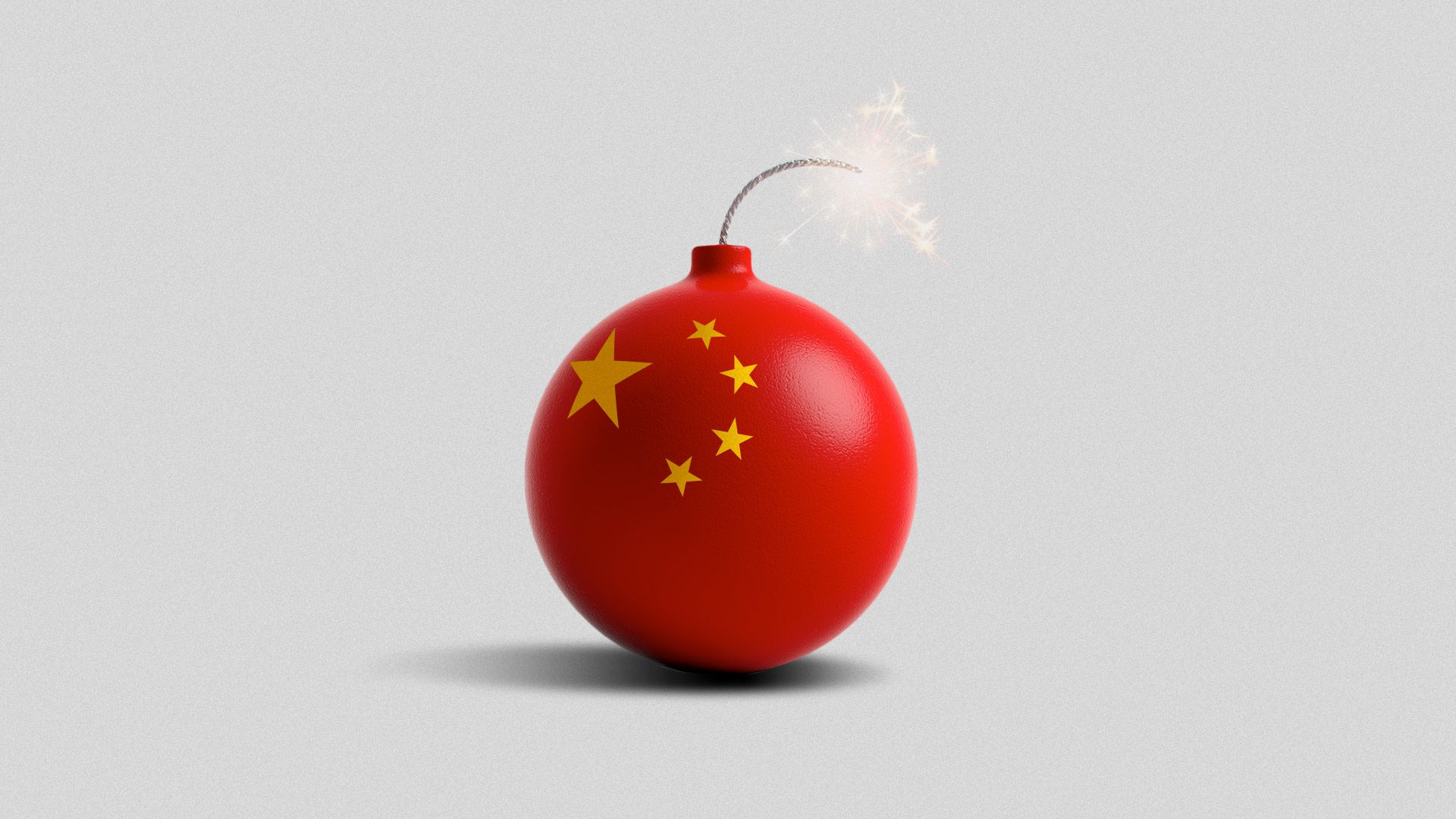 Illustration of a lit round bomb with Chinese stars on it