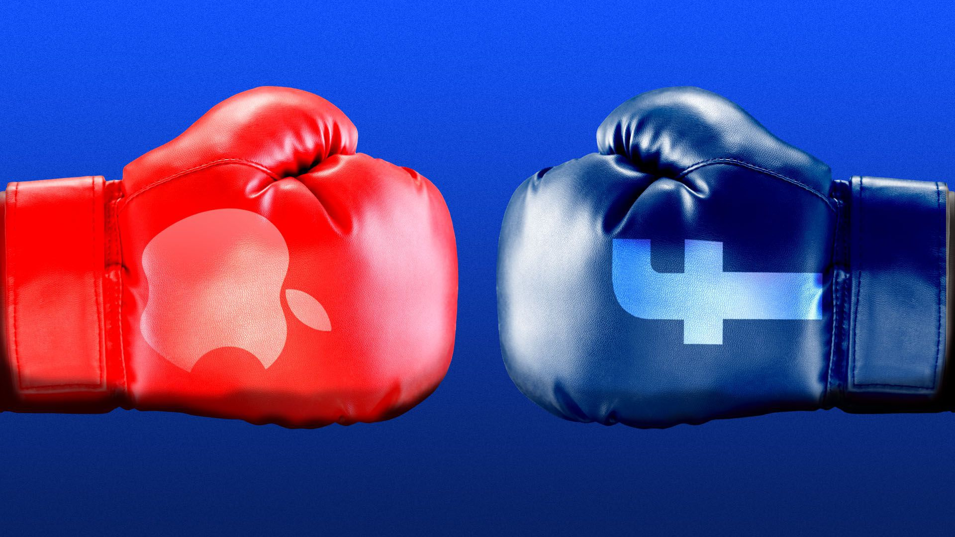Illustration of two different colored boxing gloves with the facebook and apple logos on them