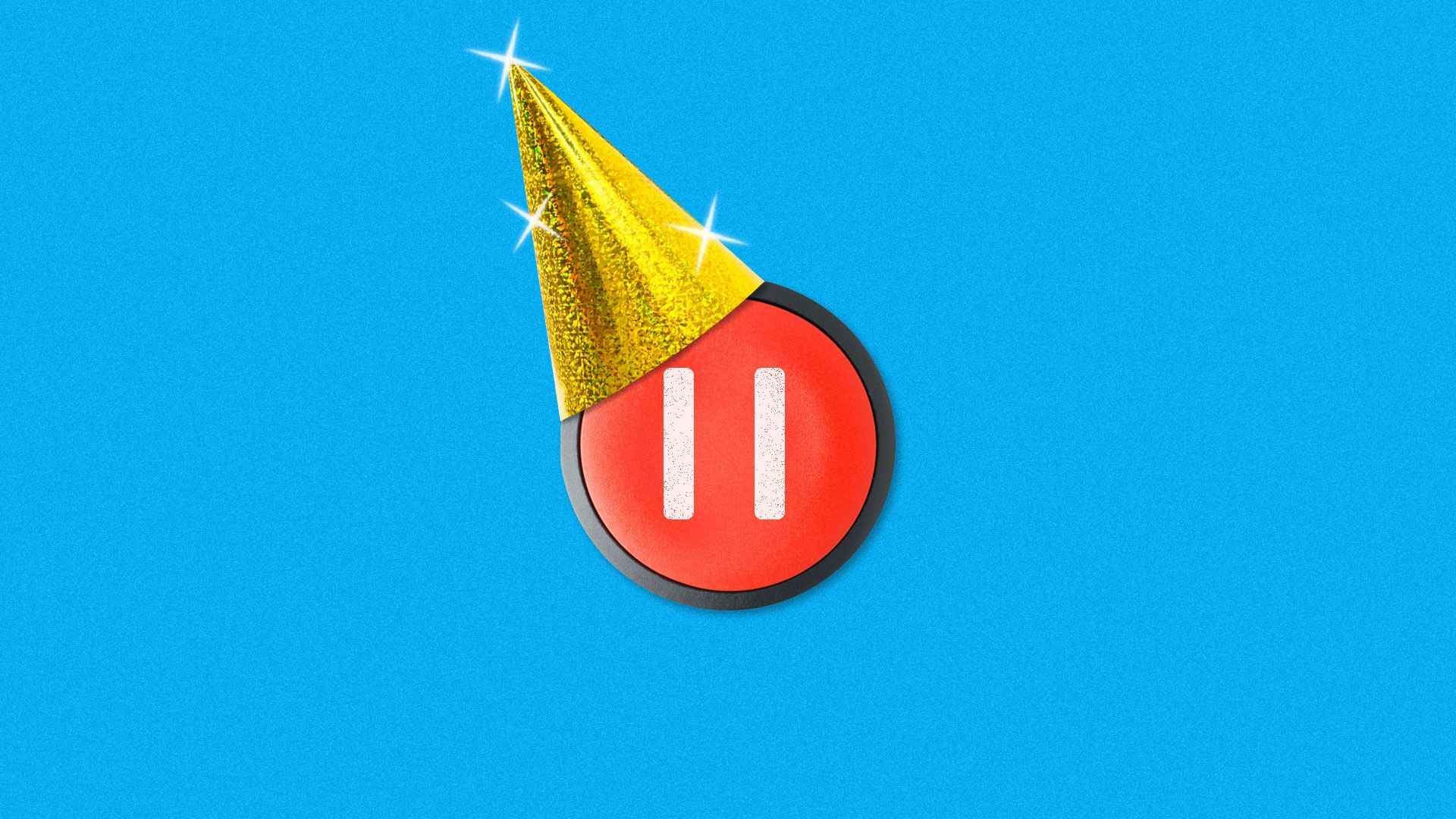 Illustration of pause button with a party hat.