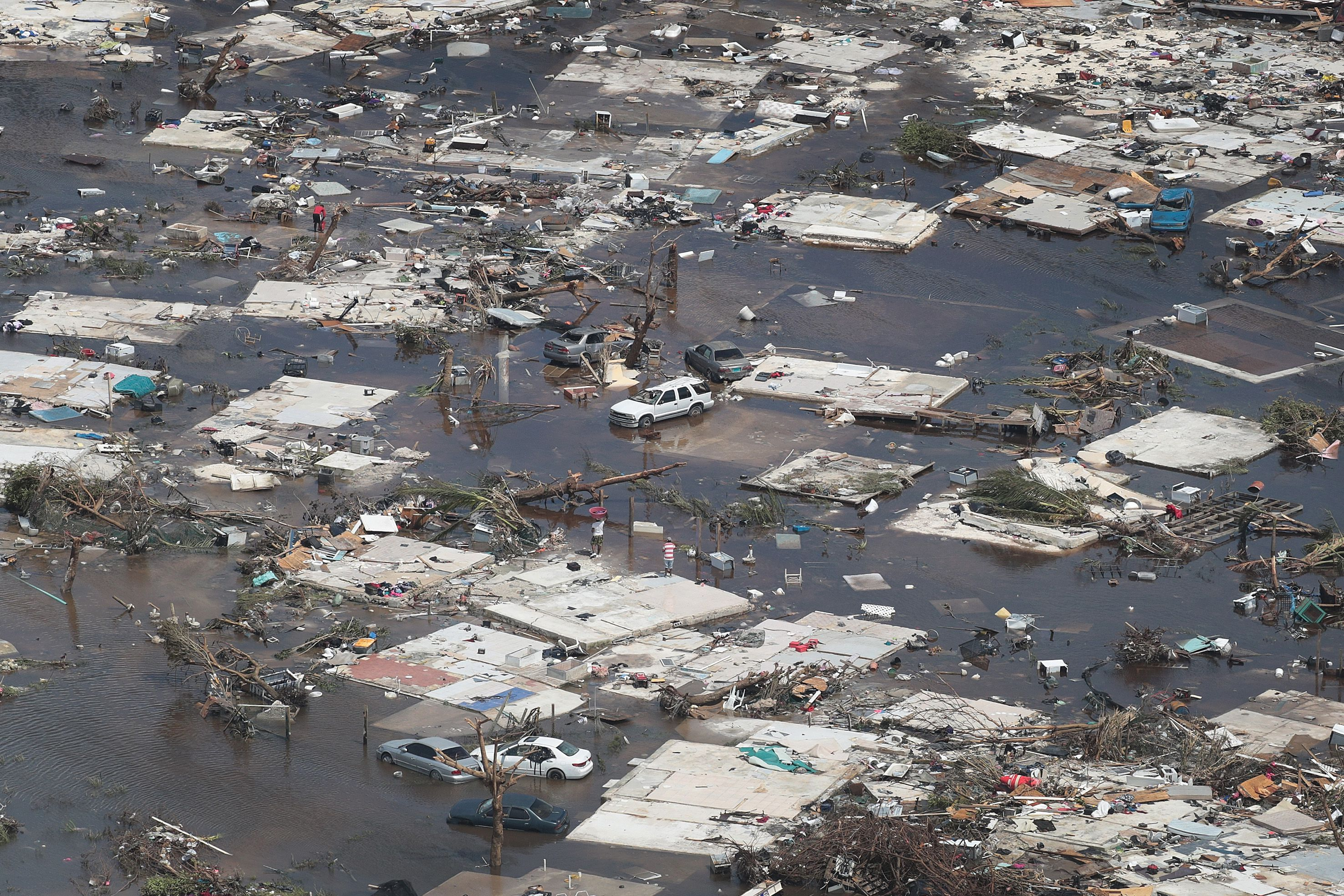 An aerial view of damage caused by Hurricane Dorian is seen in Marsh Harbour on Great Abaco Island