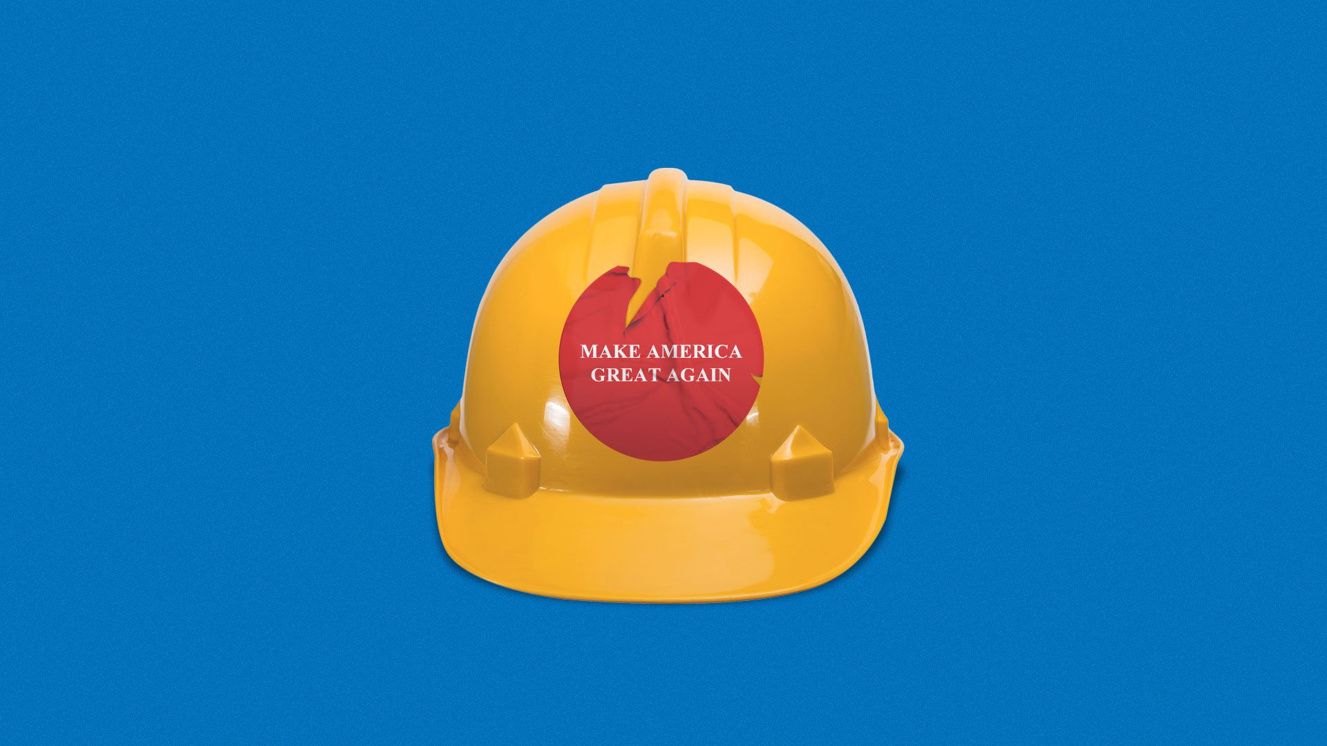 Illustration of hard hat with an old peeling Make America Great Again sticker.