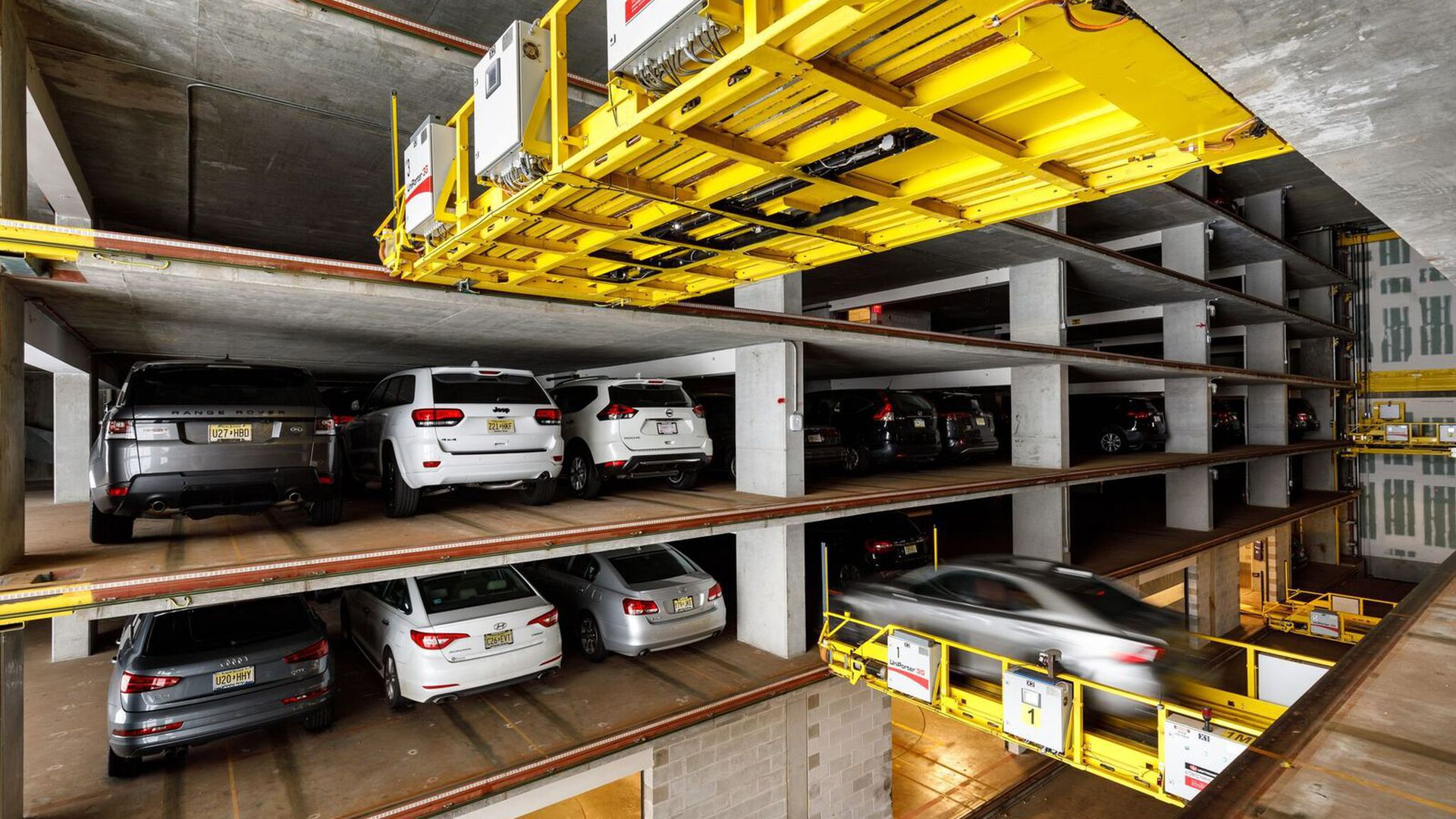 U-tron's automated parking garage packs cars close together.