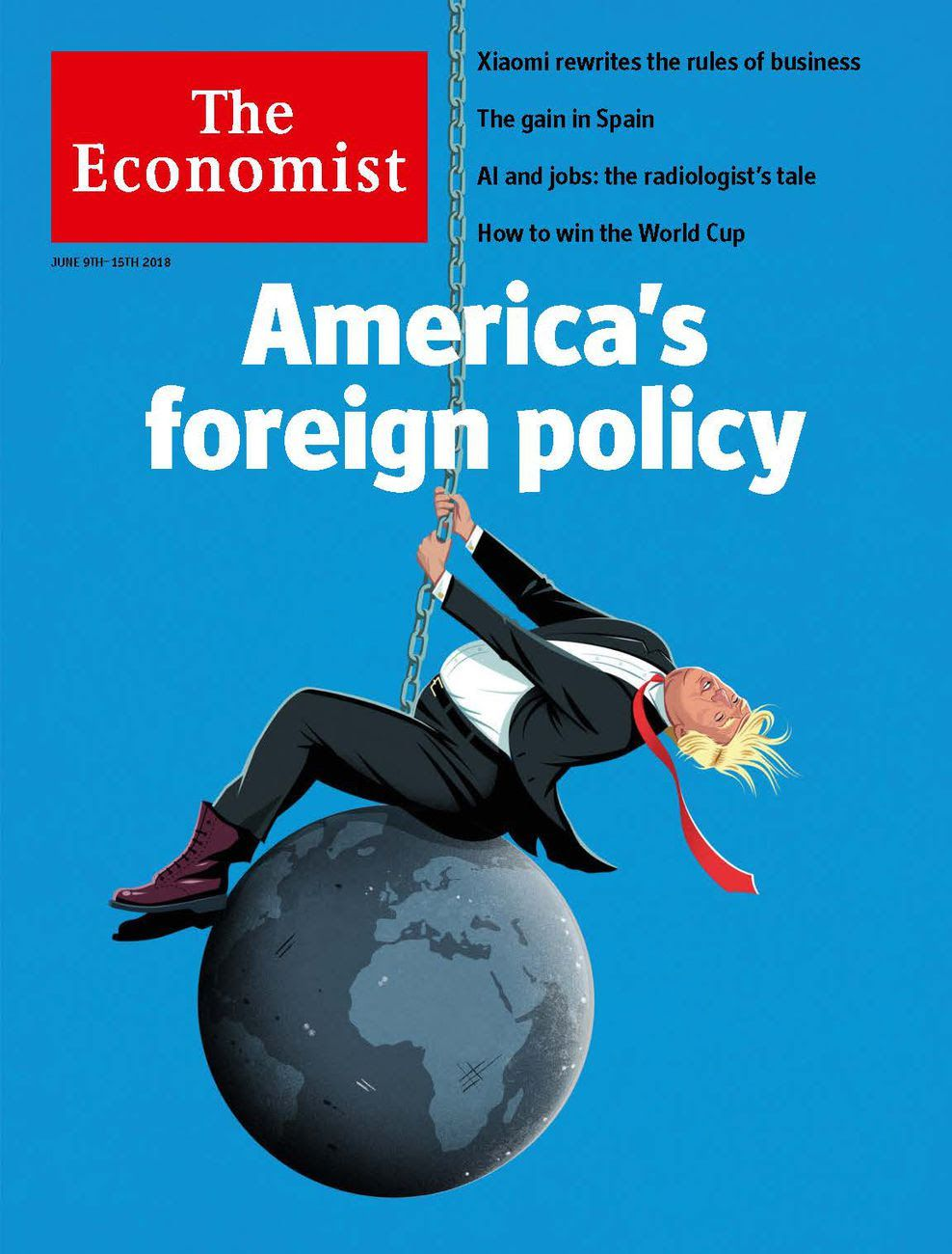 Illustration on The Economist cover of Trump riding a wrecking ball
