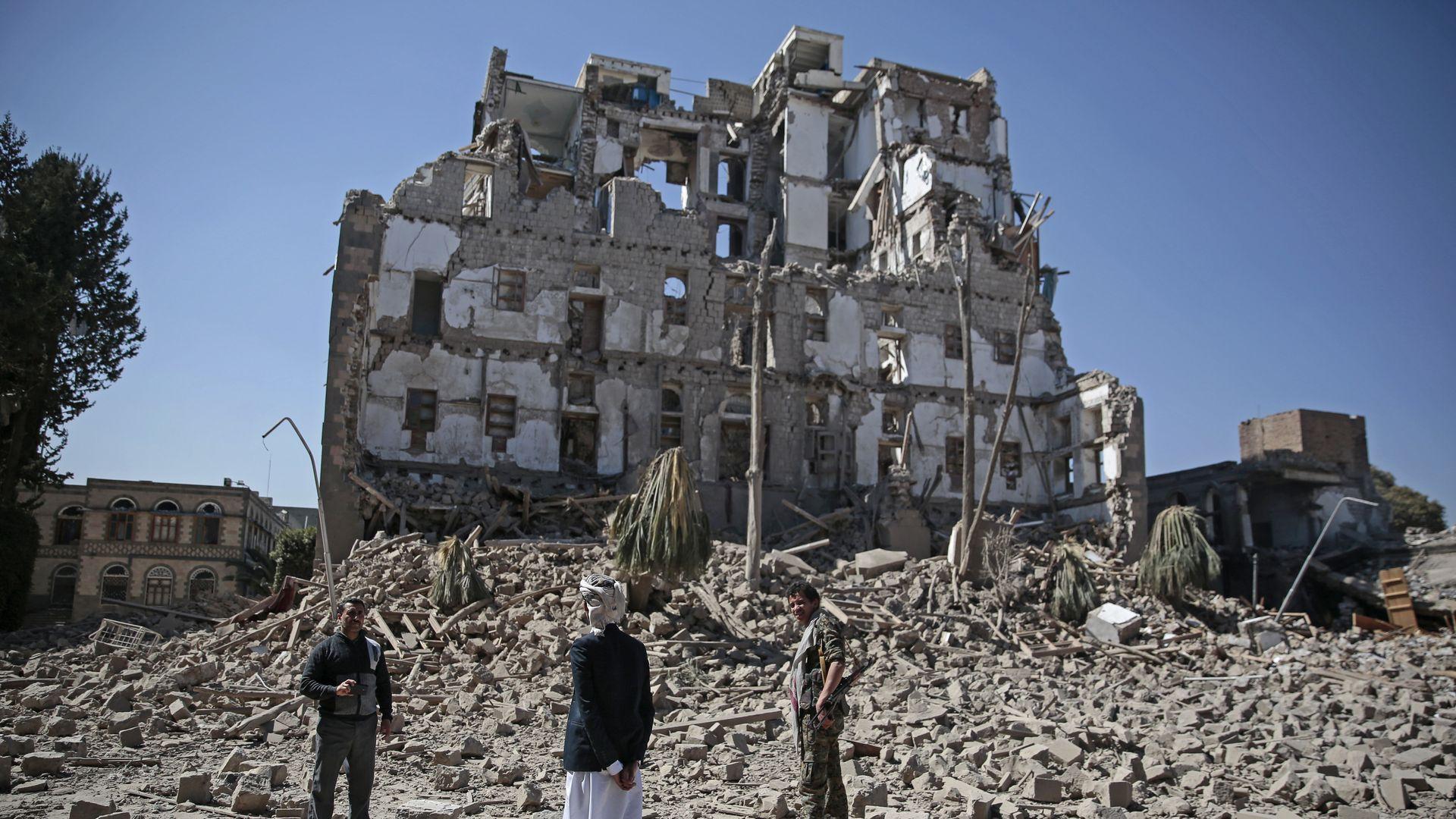 Rubble in Yemen.